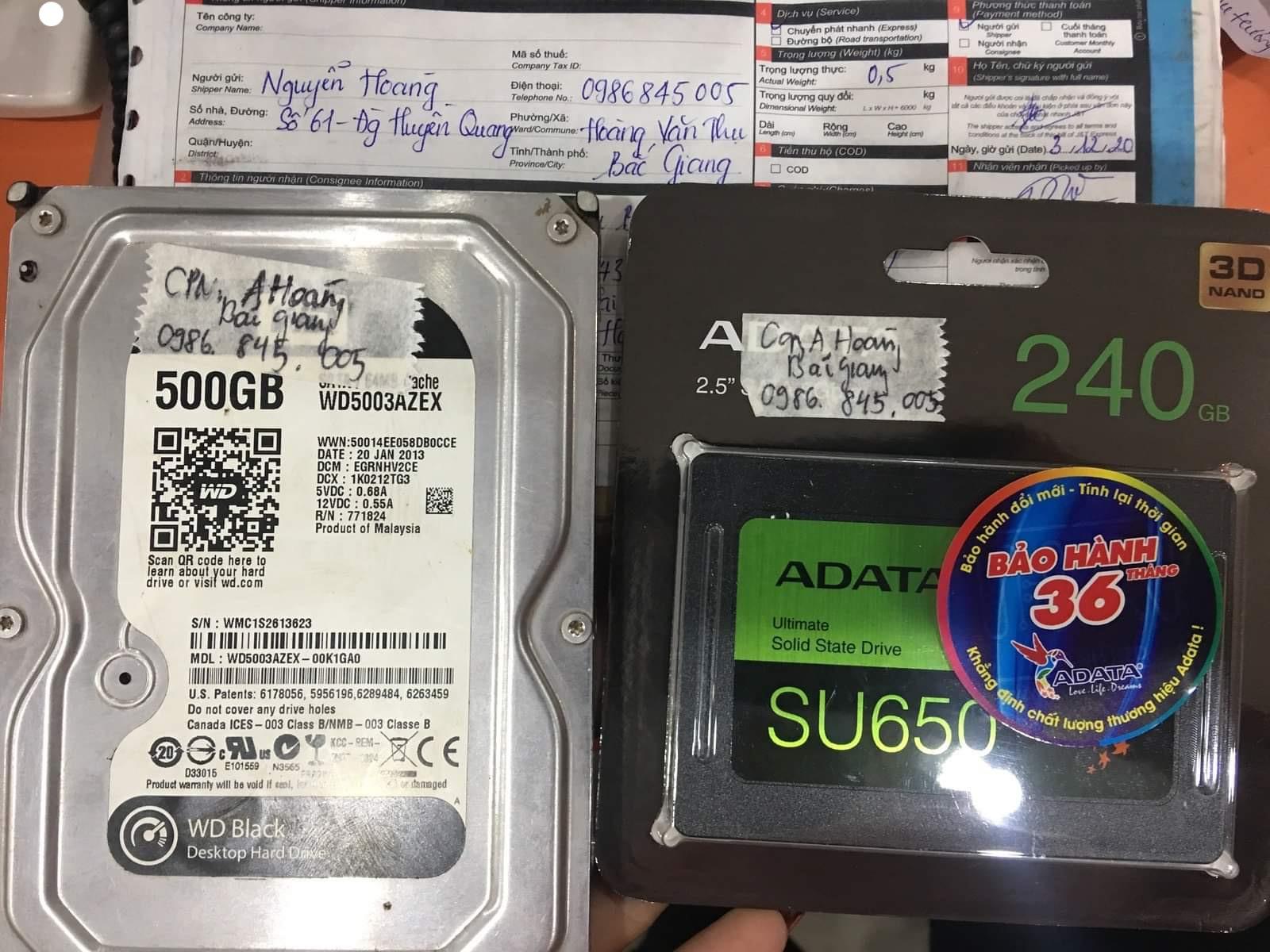 Khôi phục dữ liệu ổ cứng Western 500GB đầu đọc kém tại Bắc Giang - 12/12/2020 - cuumaytinh