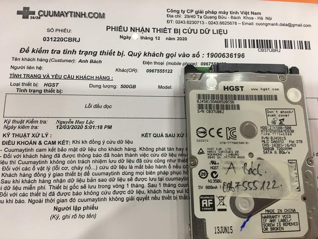 Lấy dữ liệu ổ cứng HGST 500GB lỗi đầu đọc - 07/12/2020 - cuuumaytinh
