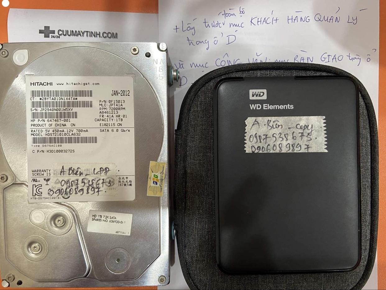 Lấy dữ liệu ổ cứng Hitachi 1TB lỗi đầu đọc tại Bắc Giang - 02/12/2020 - cuumaytinh