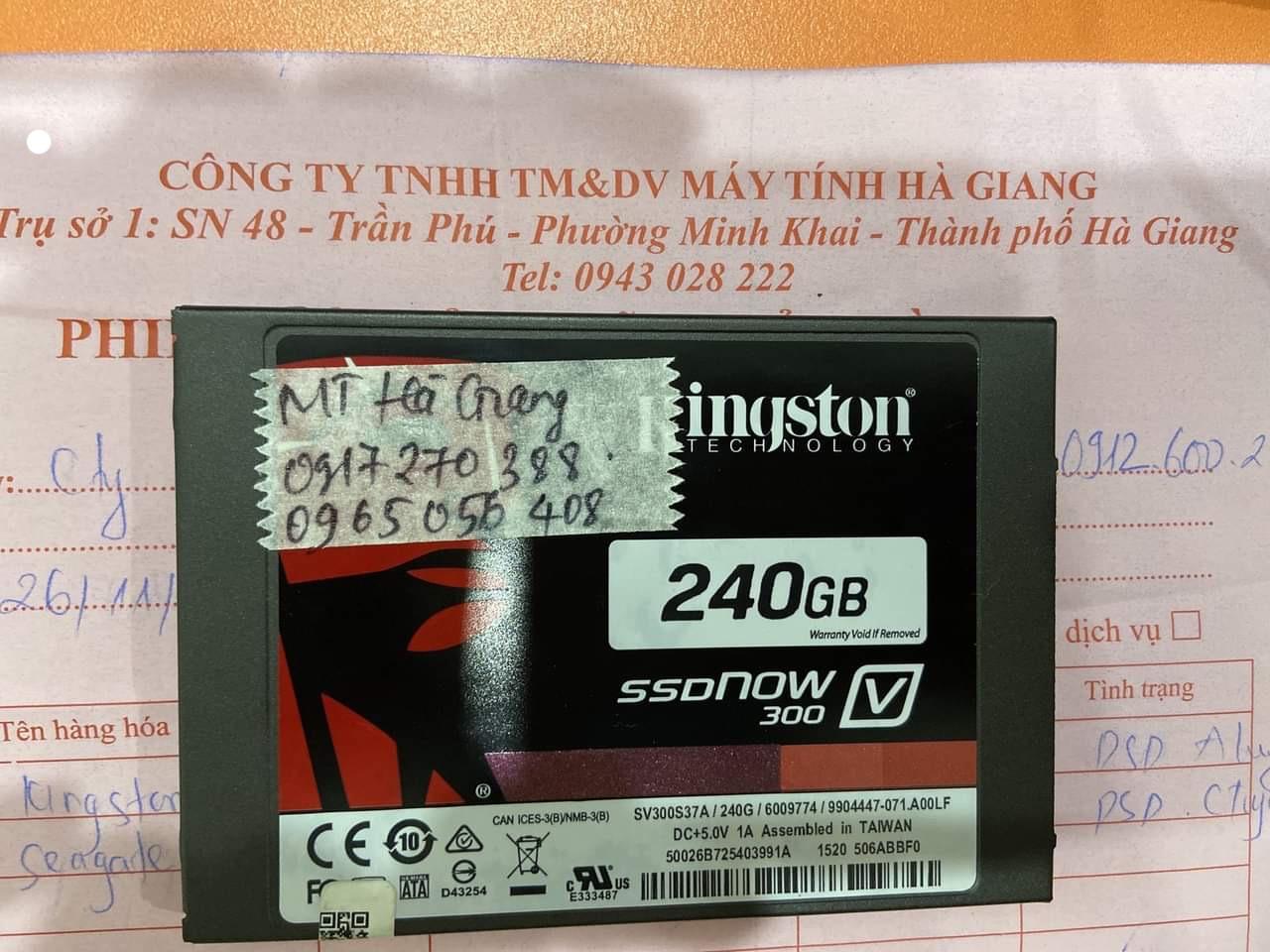 Lấy dữ liệu ổ cứng SSD Kingston 240GB không nhận tại Hà Giang - 14/12/2020 - cuumaytinh