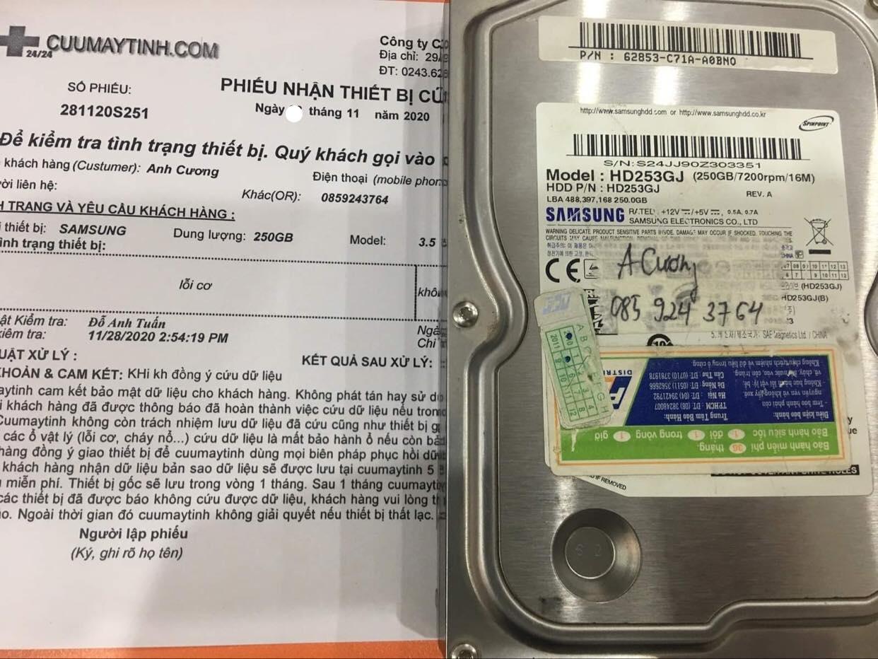 Lấy dữ liệu ổ cứng Samsung 250GB lỗi cơ - 27/11/2020 - cuumaytinh