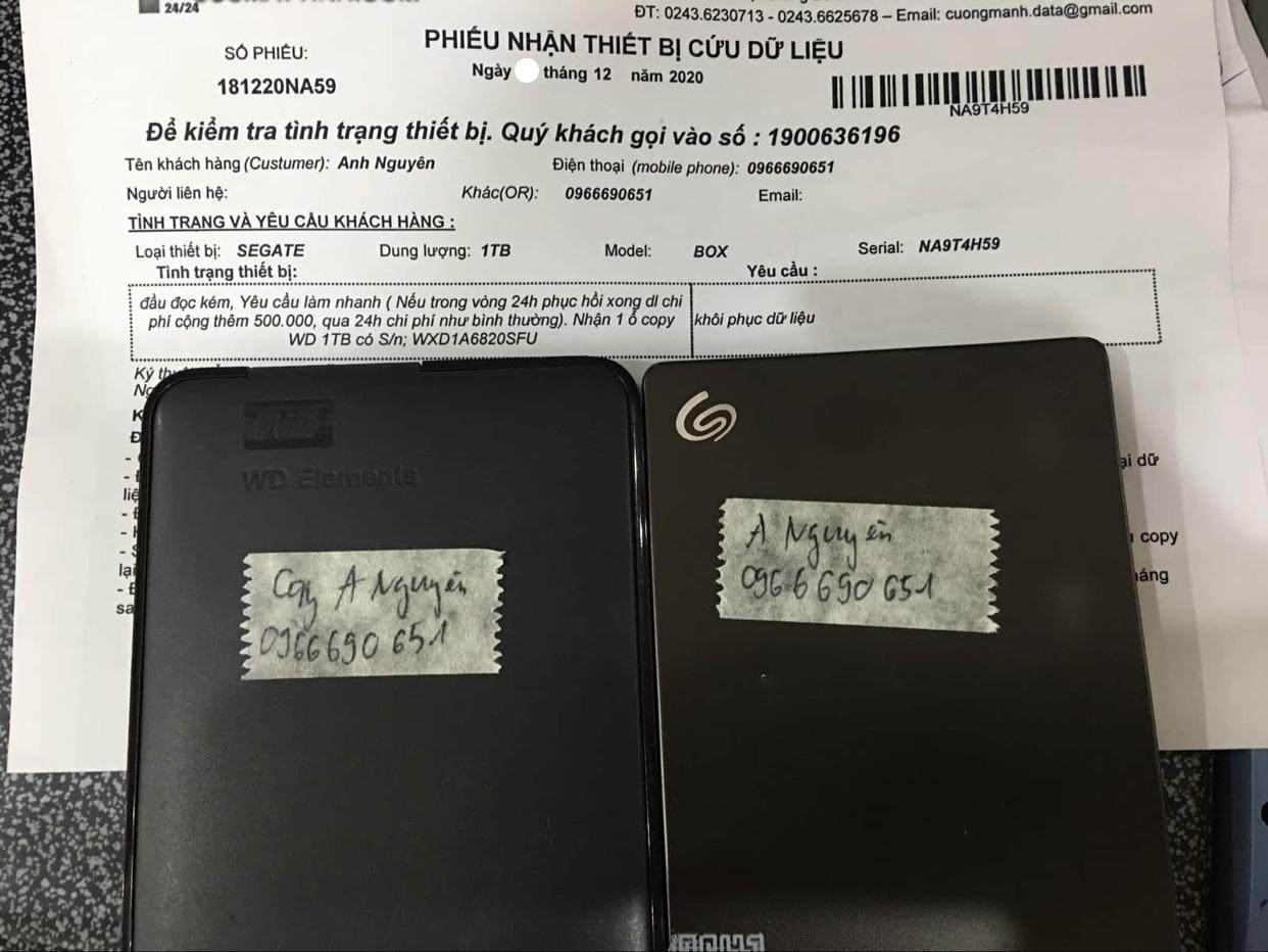 Lấy dữ liệu ổ cứng Seagate 1TB đầu đọc kém - 19/12/2020 - cuumaytinh