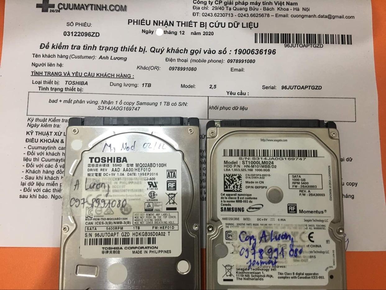 Lấy dữ liệu ổ cứng Toshiba 1TB bad - 04/12/2020 - cuumaytinh