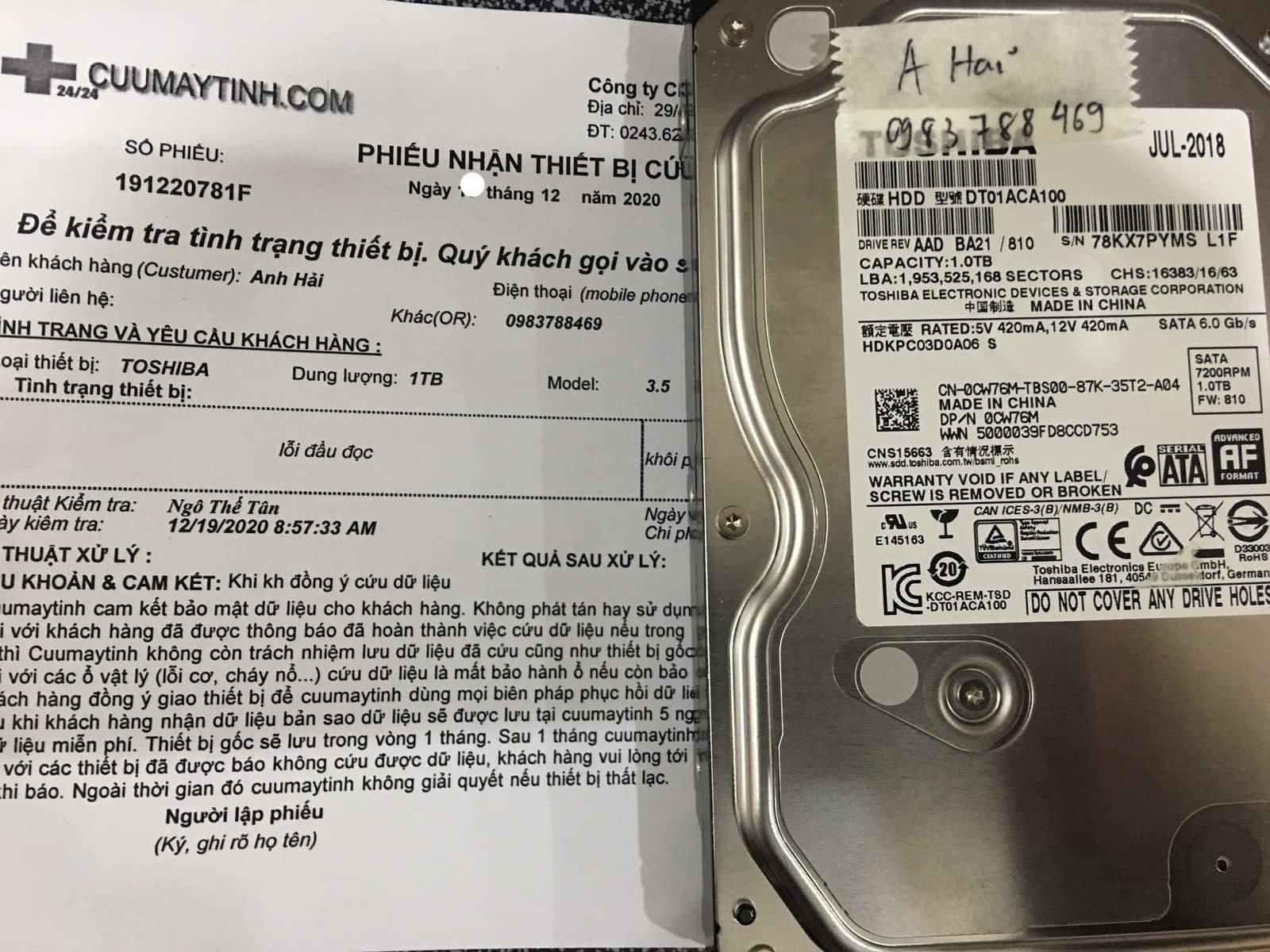 Lấy dữ liệu ổ cứng Toshiba 1TB lỗi đầu đọc - 21/12/2020 - cuumaytinh