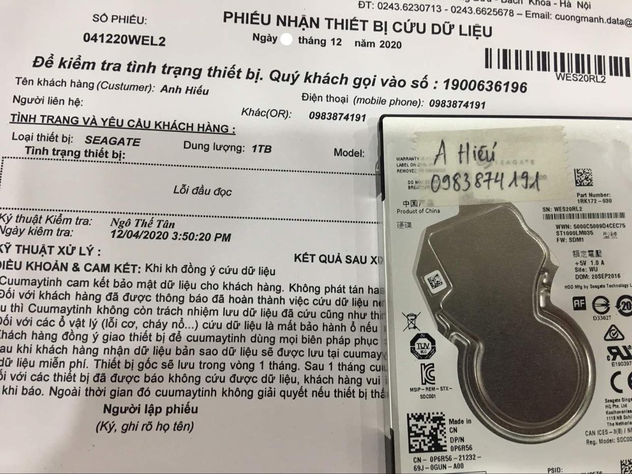 Lấy dữ liệu ổ cứng Western 1TB lỗi đầu đọc - 05/12/2020 - cuumaytinh