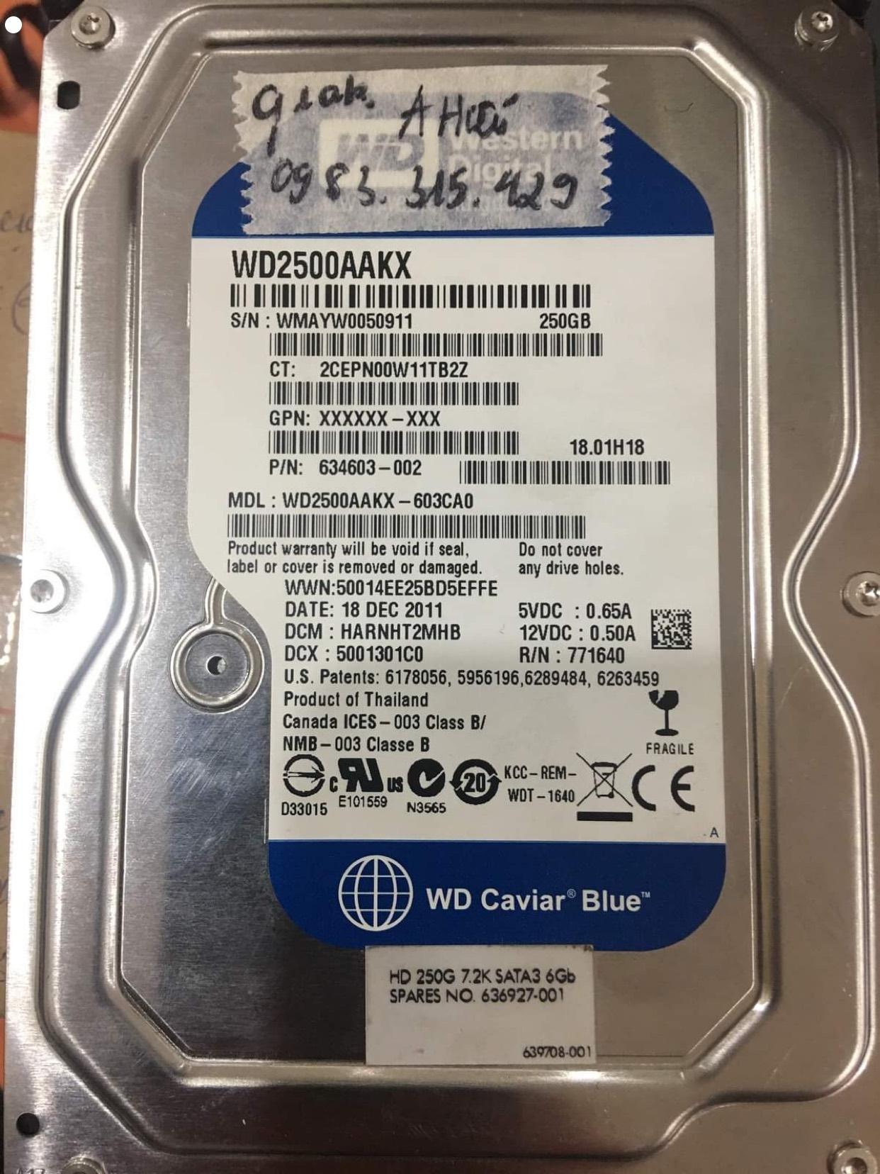 Lấy dữ liệu ổ cứng Western 250GB bad - 16/12/2020 - cuumaytinh