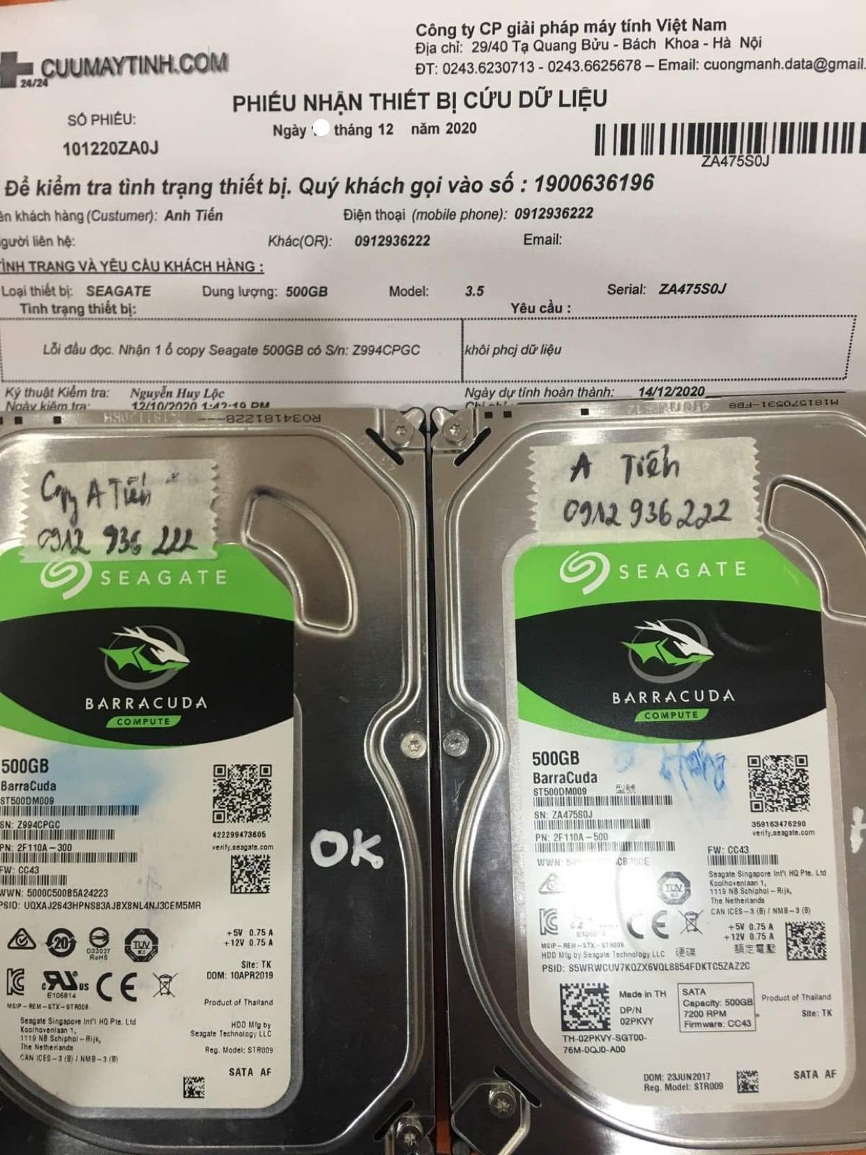 Phục hồi dữ liệu ổ cứng Seagate 500GB lỗi đầu đọc - 14/12/2020 - cuumaytinh