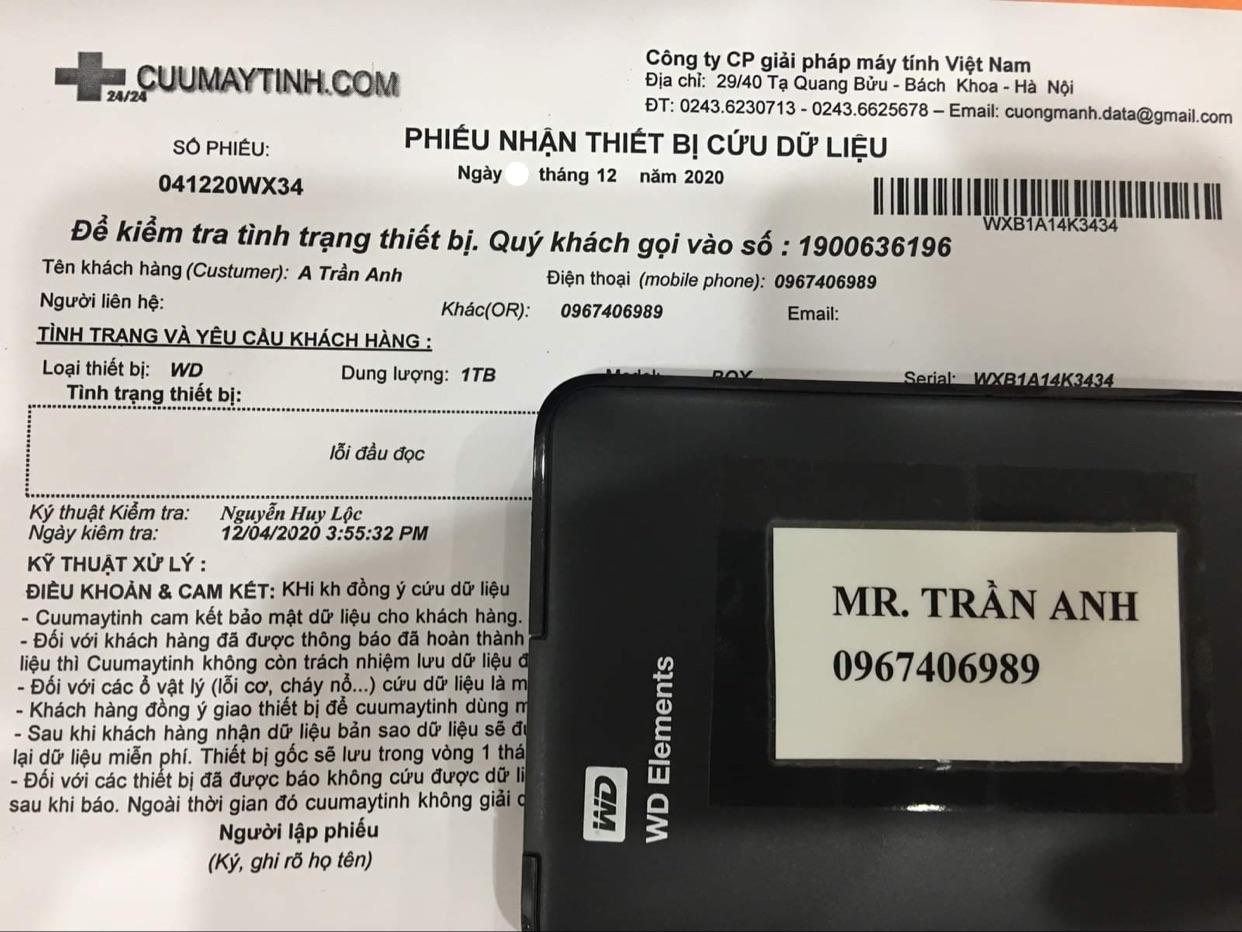 Phục hồi dữ liệu ổ cứng Western 1TB lỗi đầu đọc - 05/12/2020 - cuumaytinh