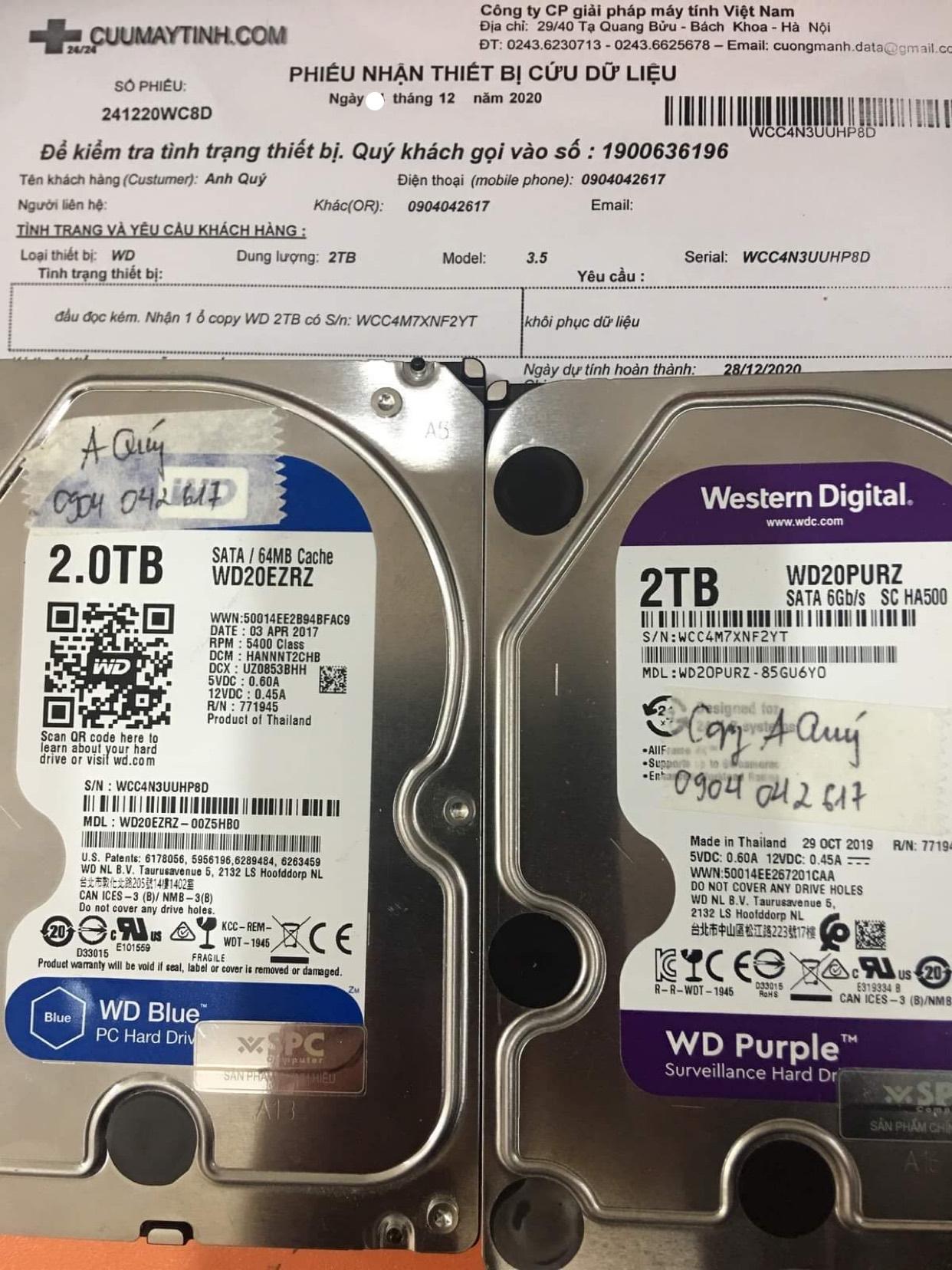 Phục hồi dữ liệu ổ cứng Western 2TB đầu đọc kém - 28/12/2020 - cuumaytinh