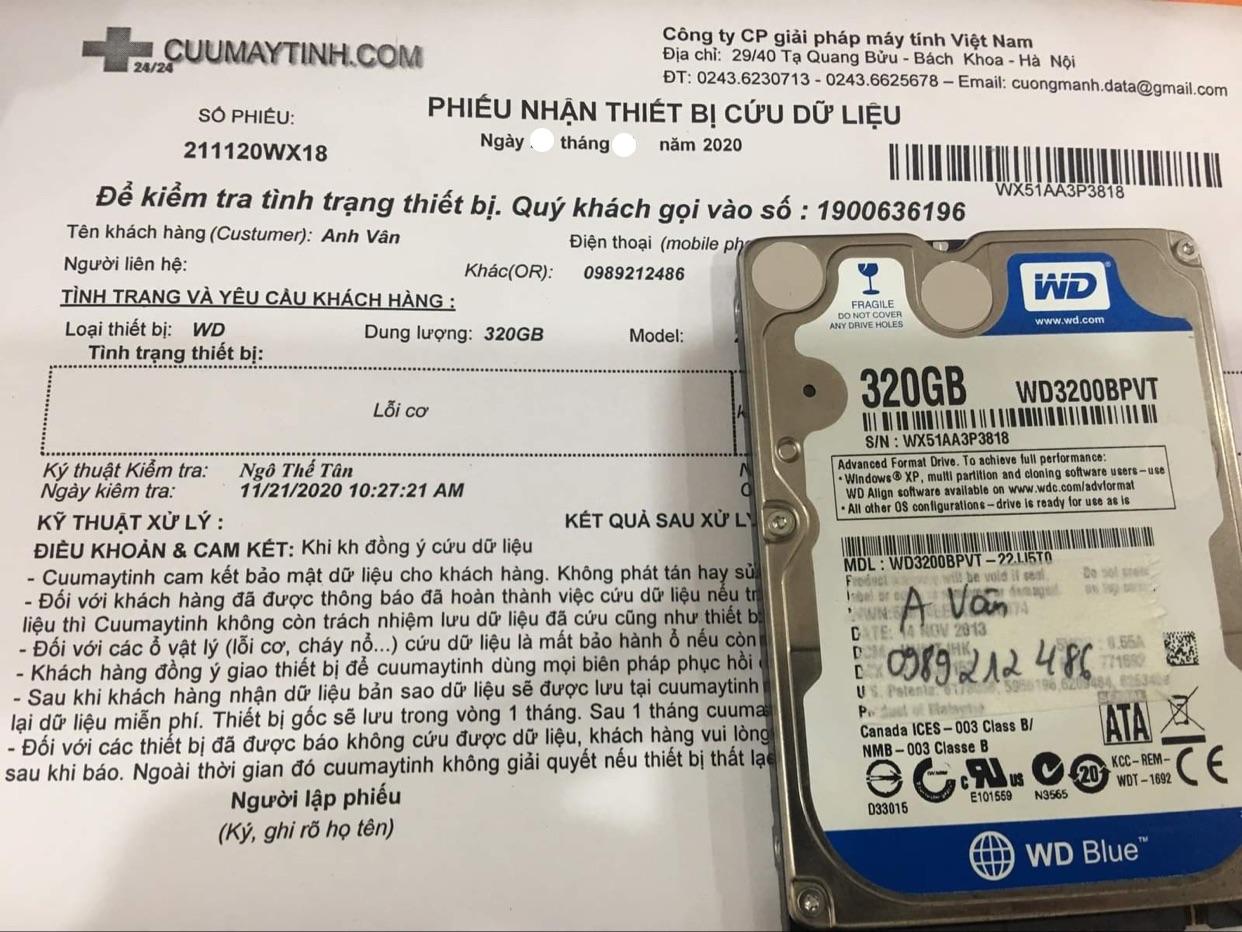 Phục hồi dữ liệu ổ cứng Western 320GB lỗi cơ - 03/12/2020 - cuumaytinh