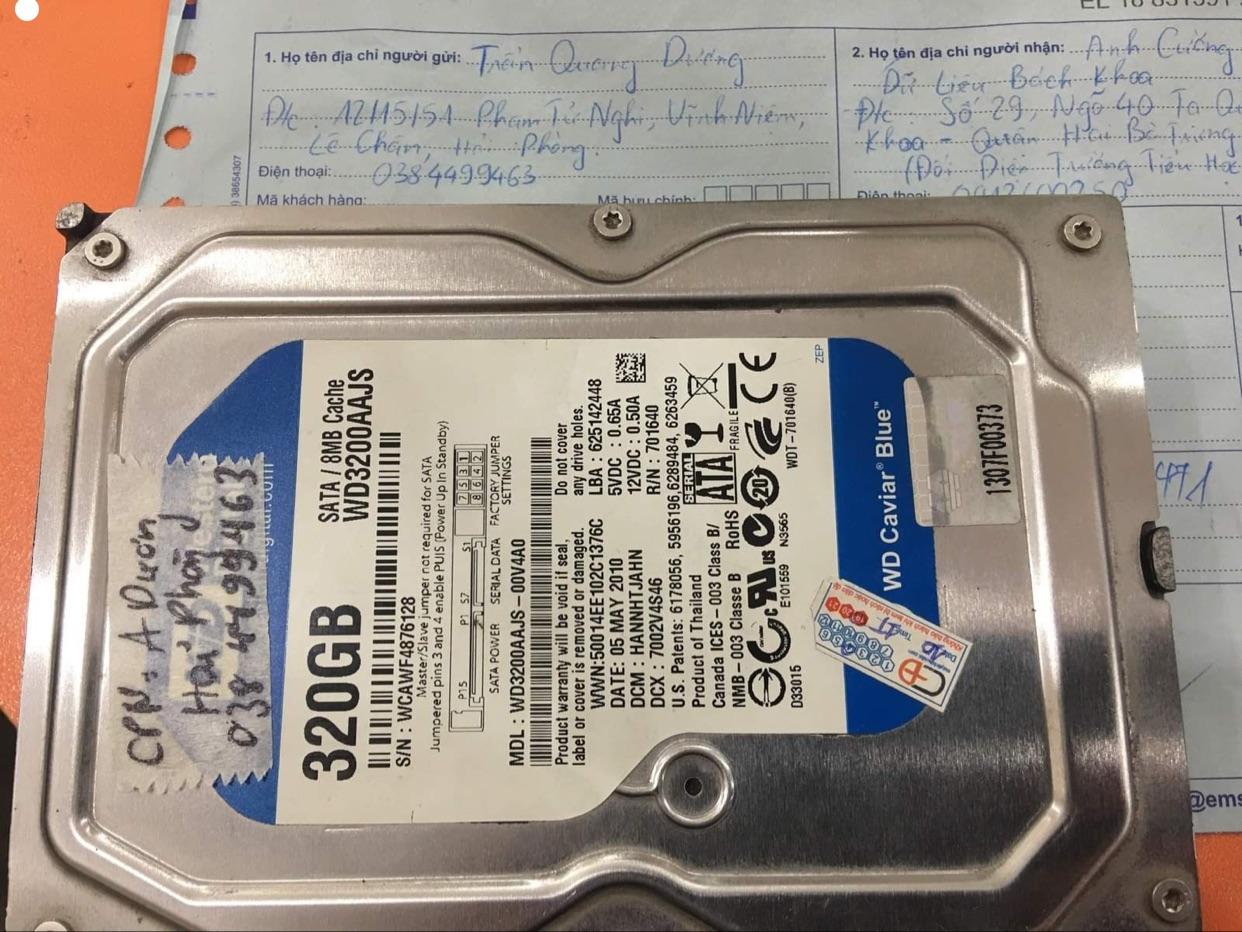 Phục hồi dữ liệu ổ cứng Western 320GB lỗi cơ tại Hải Dương - 08/12/2020 - cuumaytinh