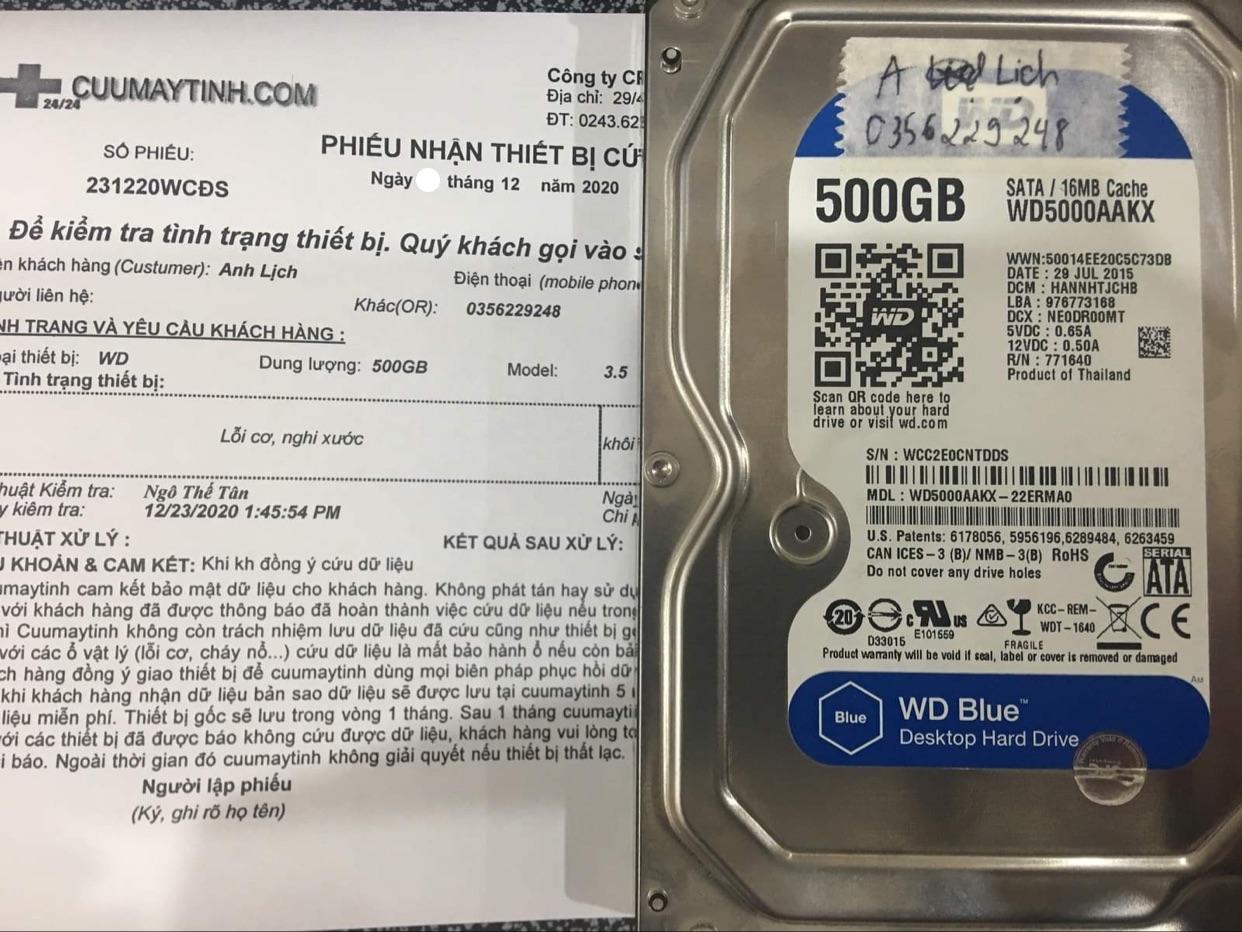Phục hồi dữ liệu ổ cứng Western 500GB lỗi cơ - 24/12/2020 - cuumaytinh