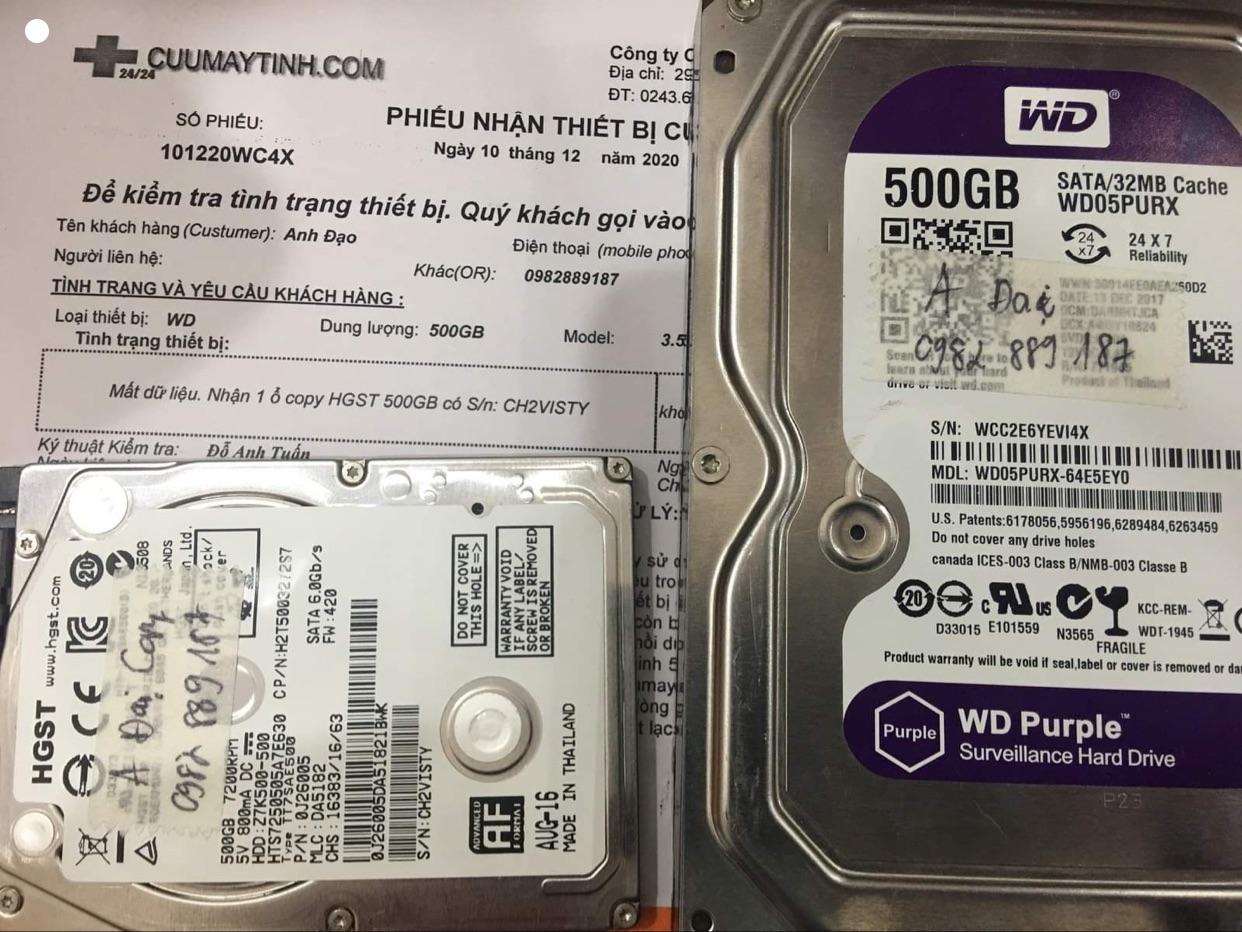Phục hồi dữ liệu ổ cứng Western 500GB mất dữ liệu - 10/12/2020 - cuumaytinh