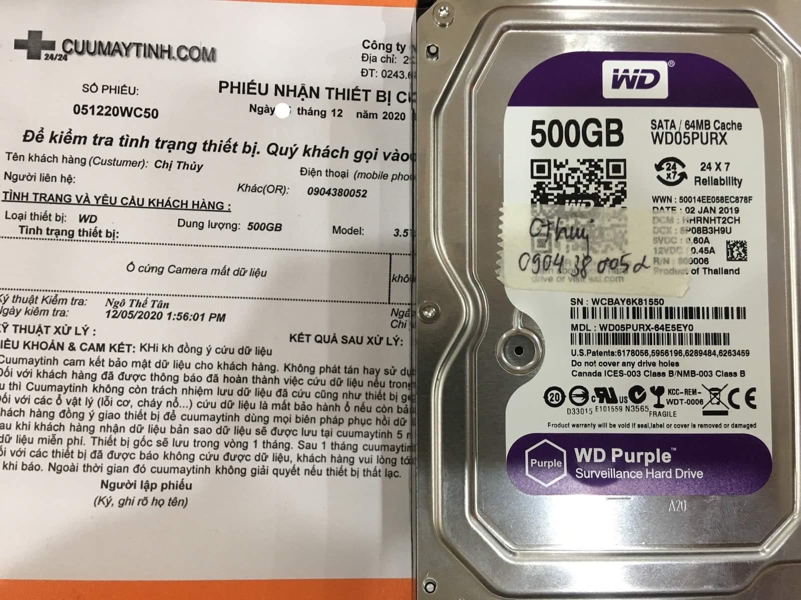 Phục hồi dữ liệu ổ cứng Western 500GB mất dữ liệu - 12/12/2020 - cuumaytinh