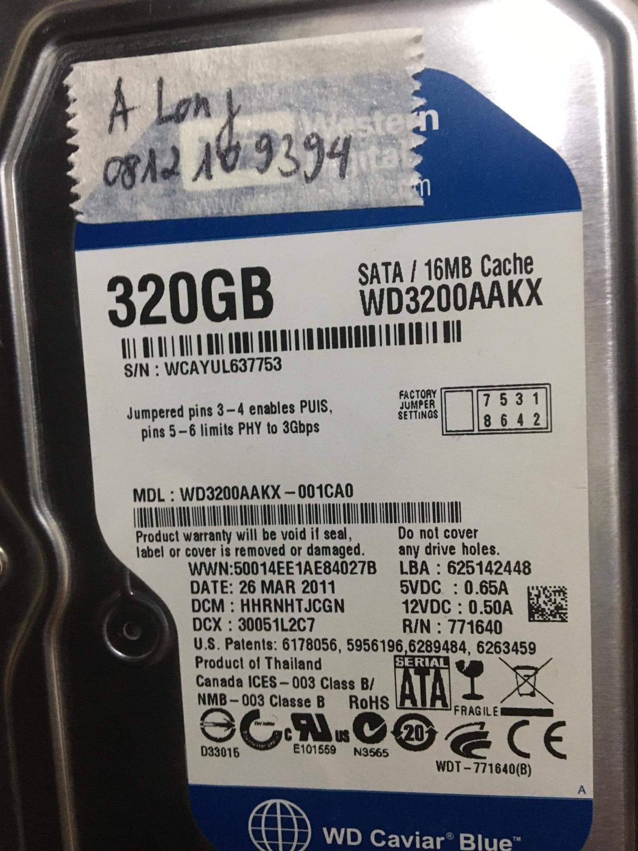 Cứu dữ liệu ổ cứng Western 320GB đầu đọc kém - 08/12/2020 - cuumaytinh
