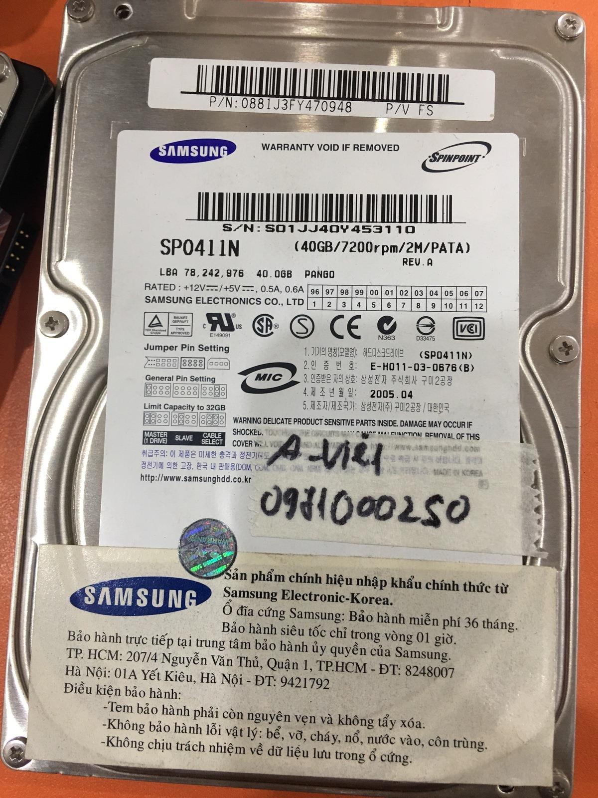 Cứu dữ liệu ổ cứng Samsung 40GB lỗi cơ - 05/01/2021 - cuumaytinh