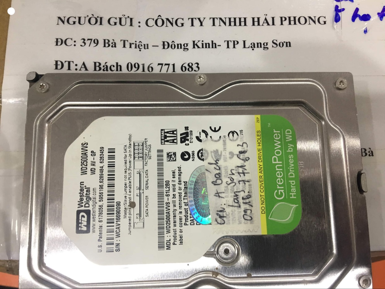 Cứu dữ liệu ổ cứng WD 250GB lỗi cơ tại Lạng Sơn -18/01/2021