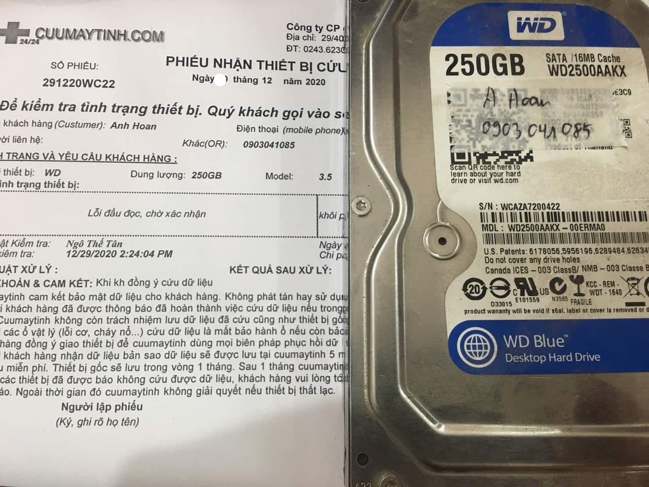Cứu dữ liệu ổ cứng Western 250GB lỗi đầu đọc - 31/12/2020 - cuumaytinh