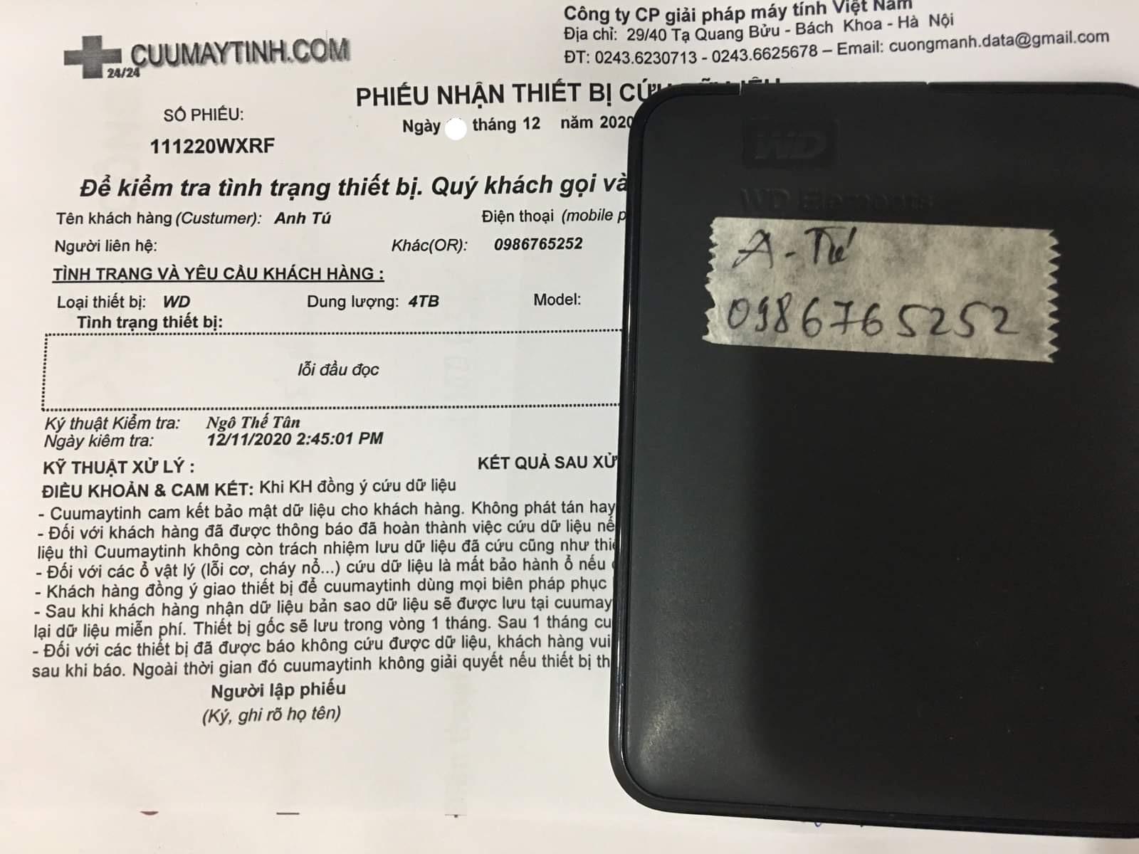 Cứu dữ liệu ổ cứng Western 4TB lỗi cơ - 29/12/2020 - cuumaytinh