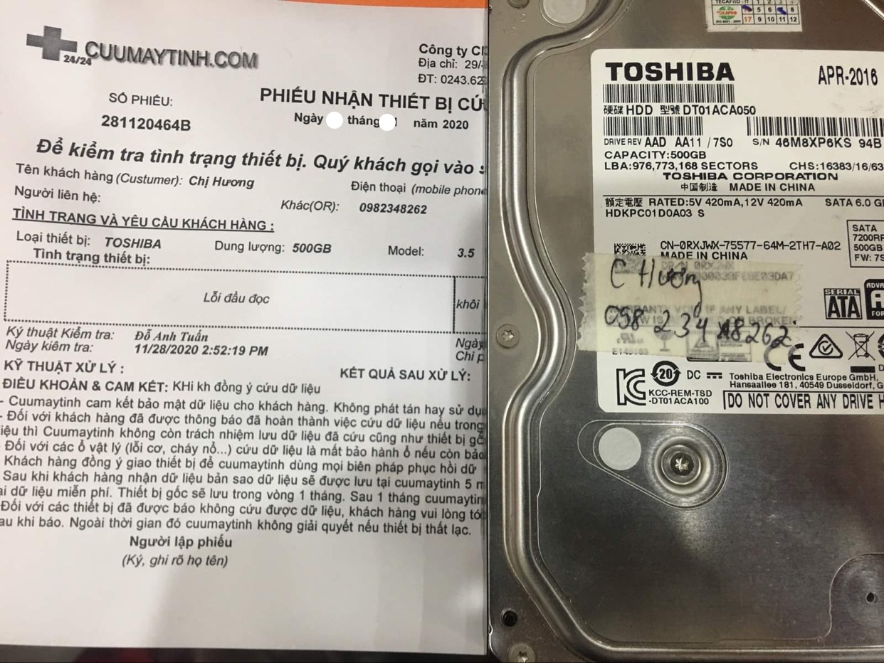 Khôi phục dữ liệu ổ cứng Toshiba 1TB lỗi đầu đọc - 06/01/2021 - cuumaytinh