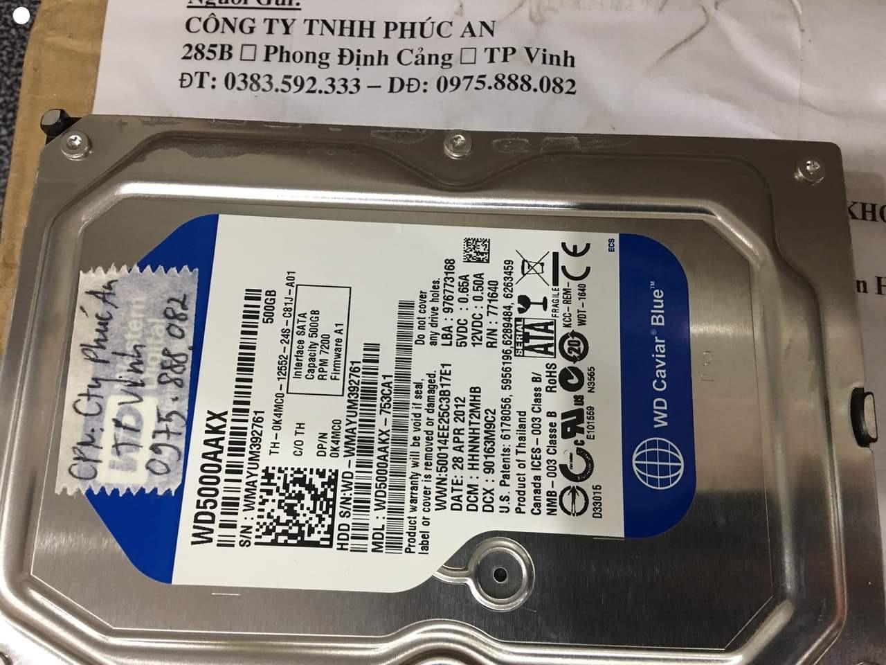 Khôi phục dữ liệu ổ cứng Western 500GB đầu đọc kém tại Nghệ An  - 04/01/2021 - cuumaytinh