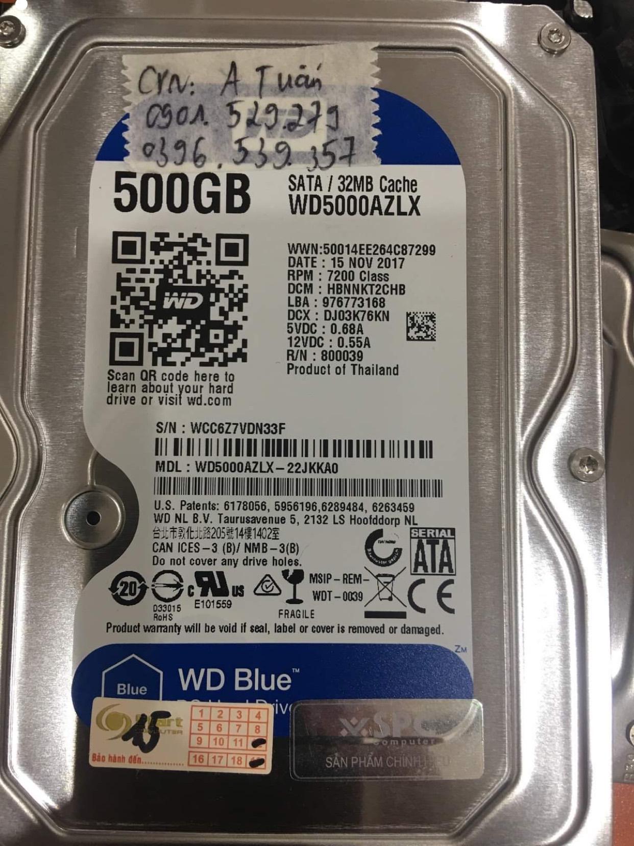 Khôi phục dữ liệu ổ cứng Western 500GB mất dữ liệu - 31/12/2020 - cuumaytinh