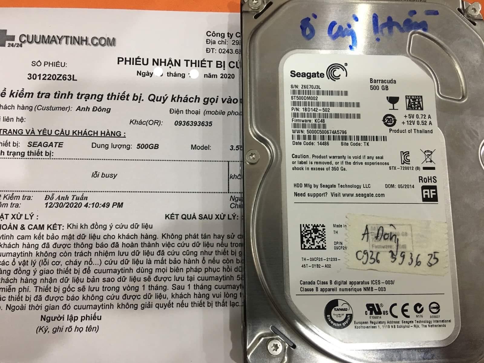 Lấy dữ liệu ổ cứng Seagate 500GB không nhận - 05/01/2021 - cuumaytinh