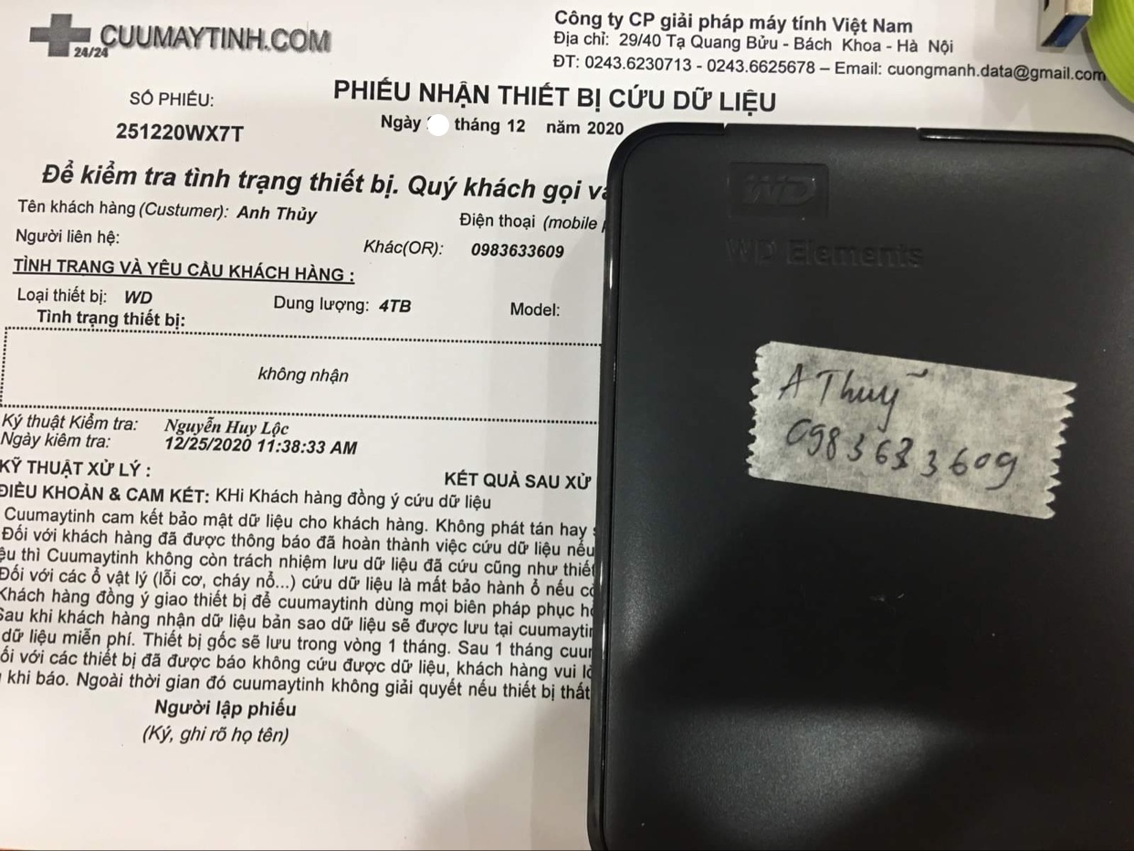 Lấy dữ liệu ổ cứng Western 4TB không nhận - 31/12/2020 - cuumaytinh
