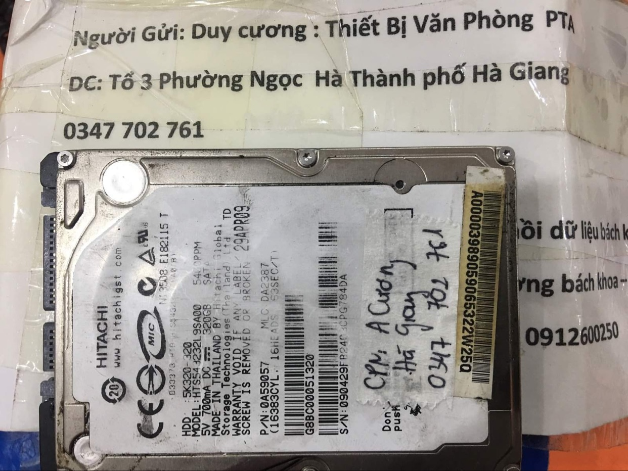 Phục hồi dữ liệu ổ cứng Hitachi 320GB lỗi đầu đọc tại Hà Giang - 04/01/2021 - cuumaytinh