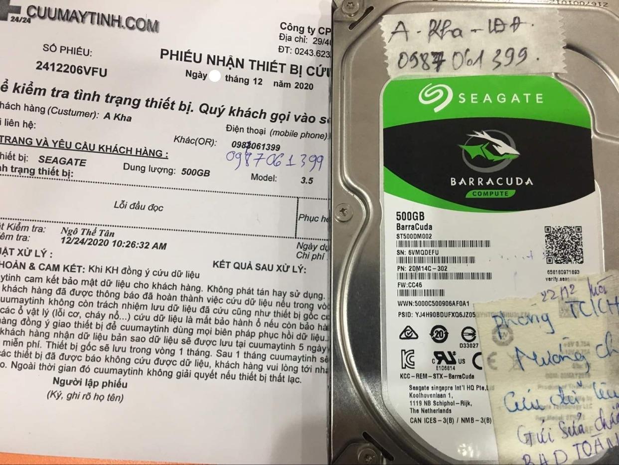 Phục hồi dữ liệu ổ cứng Seagate 500GB lỗi đầu đọc - 29/12/2020 - cuumaytinh