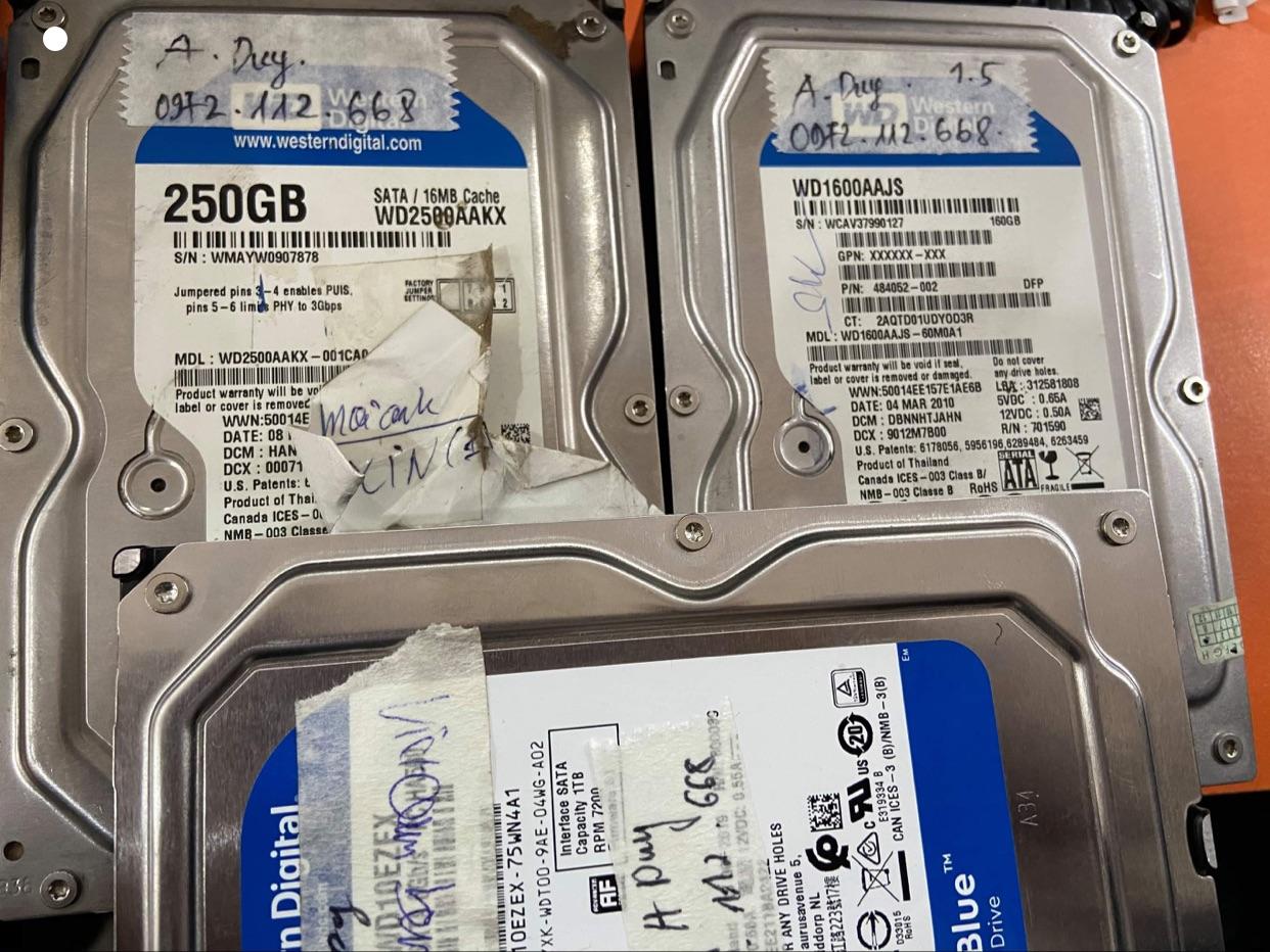 Phục hồi dữ liệu ổ cứng WD 160GB + 250GB không nhận - 08.01.2021