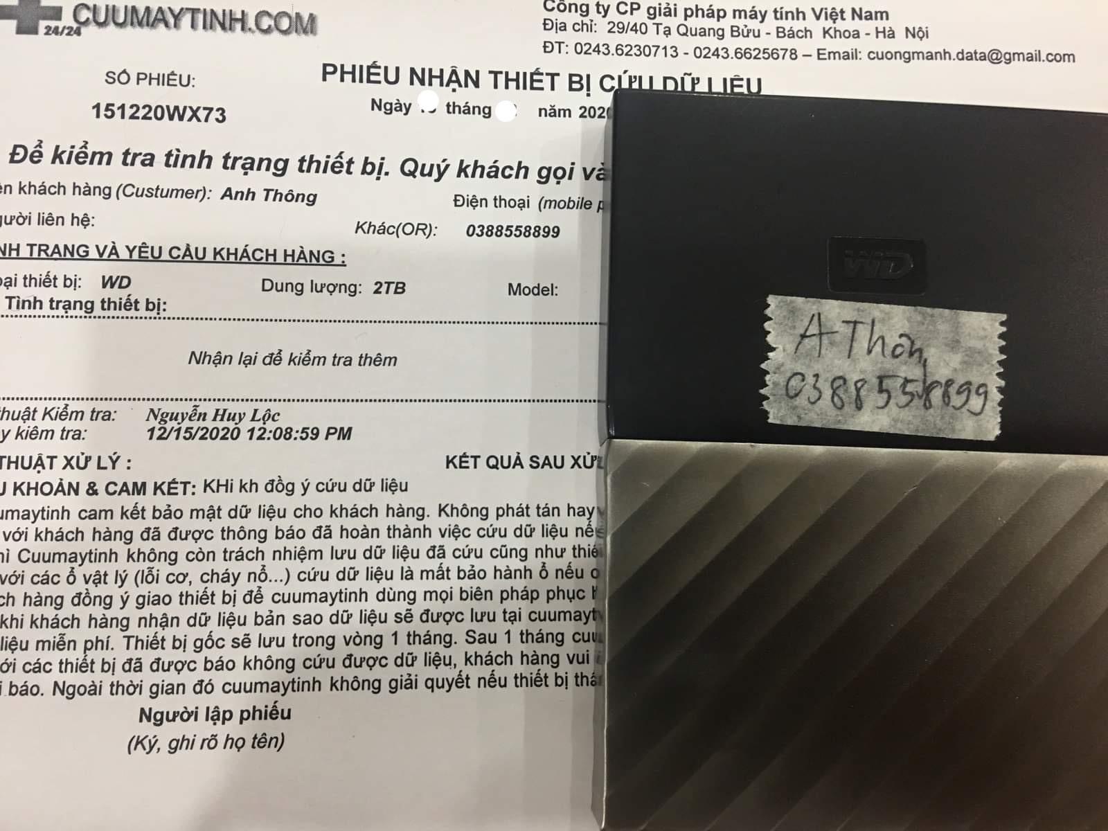 Phục hồi dữ liệu ổ cứng Western 2TB đầu đọc kém - 05/01/2021 - cuumaytinh