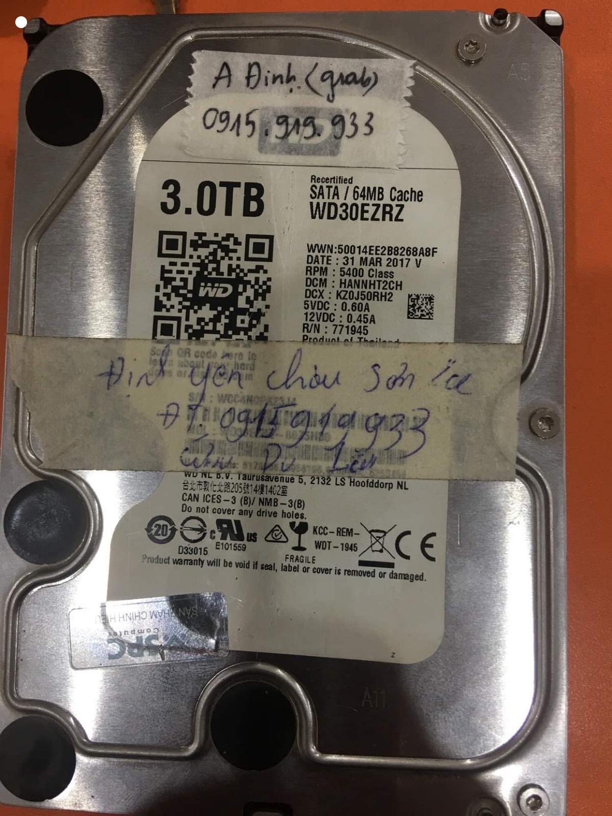 Phục hồi dữ liệu ổ cứng Western 3TB đầu đọc kém tại Sơn La - 31/12/2020 - cuumaytinh