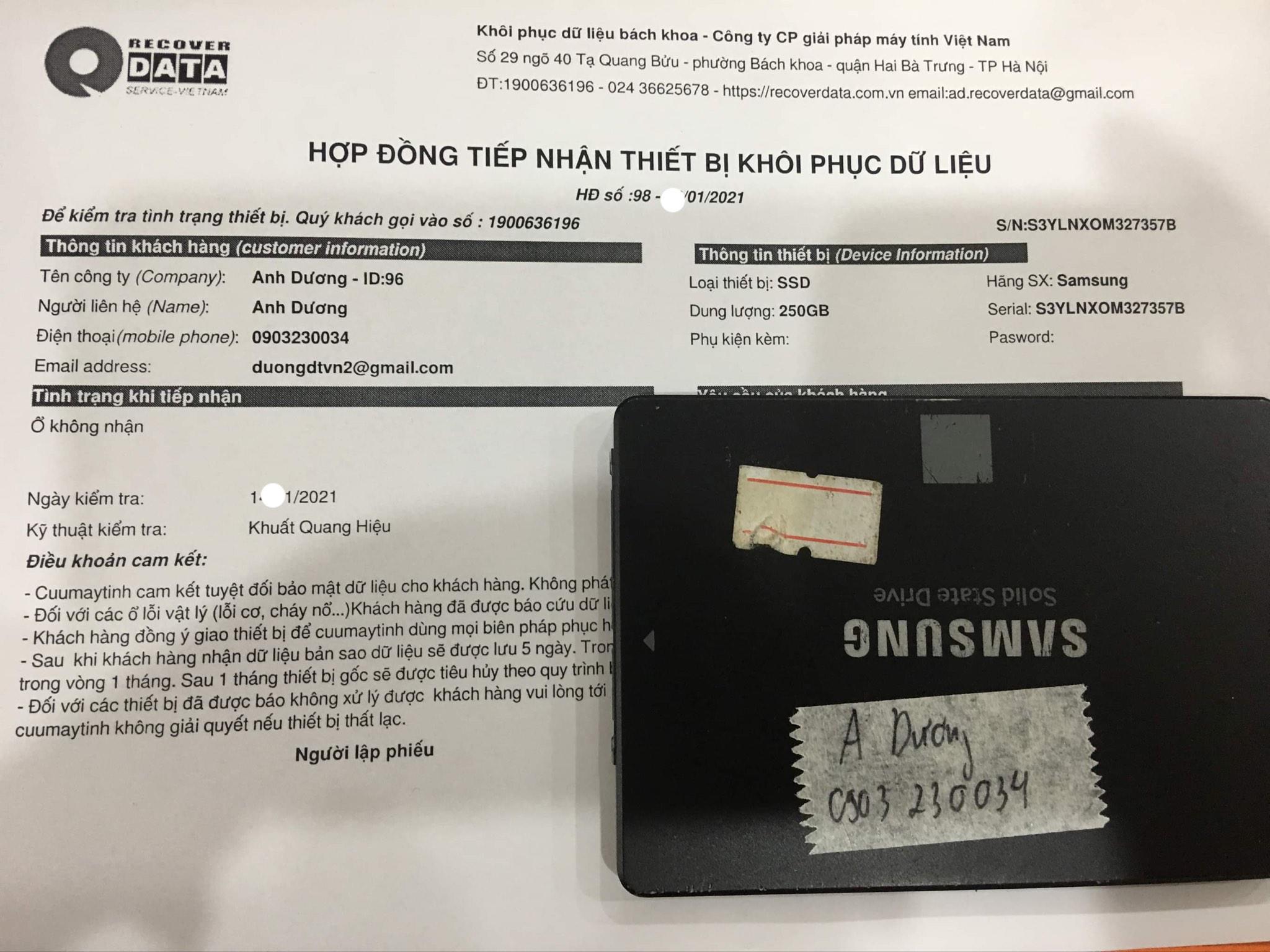 Cứu dữ liệu ổ cứng SSD 250GB không nhận - 25/01/2021