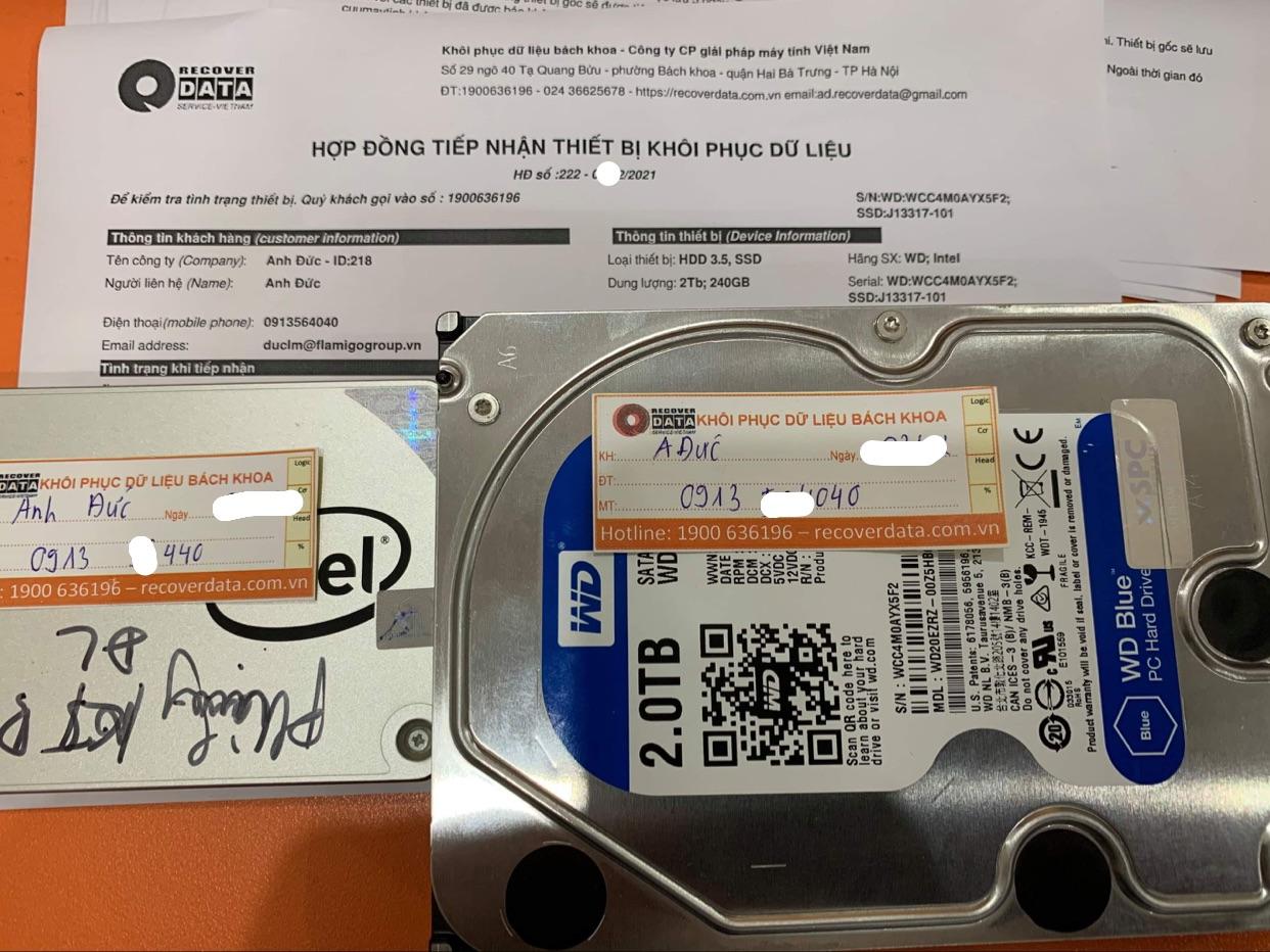 Cứu dữ liệu ổ cứng WD 2TB đầu đọc kém + ổ SSD Intel 240GB lỗi chip - 26/02/2021