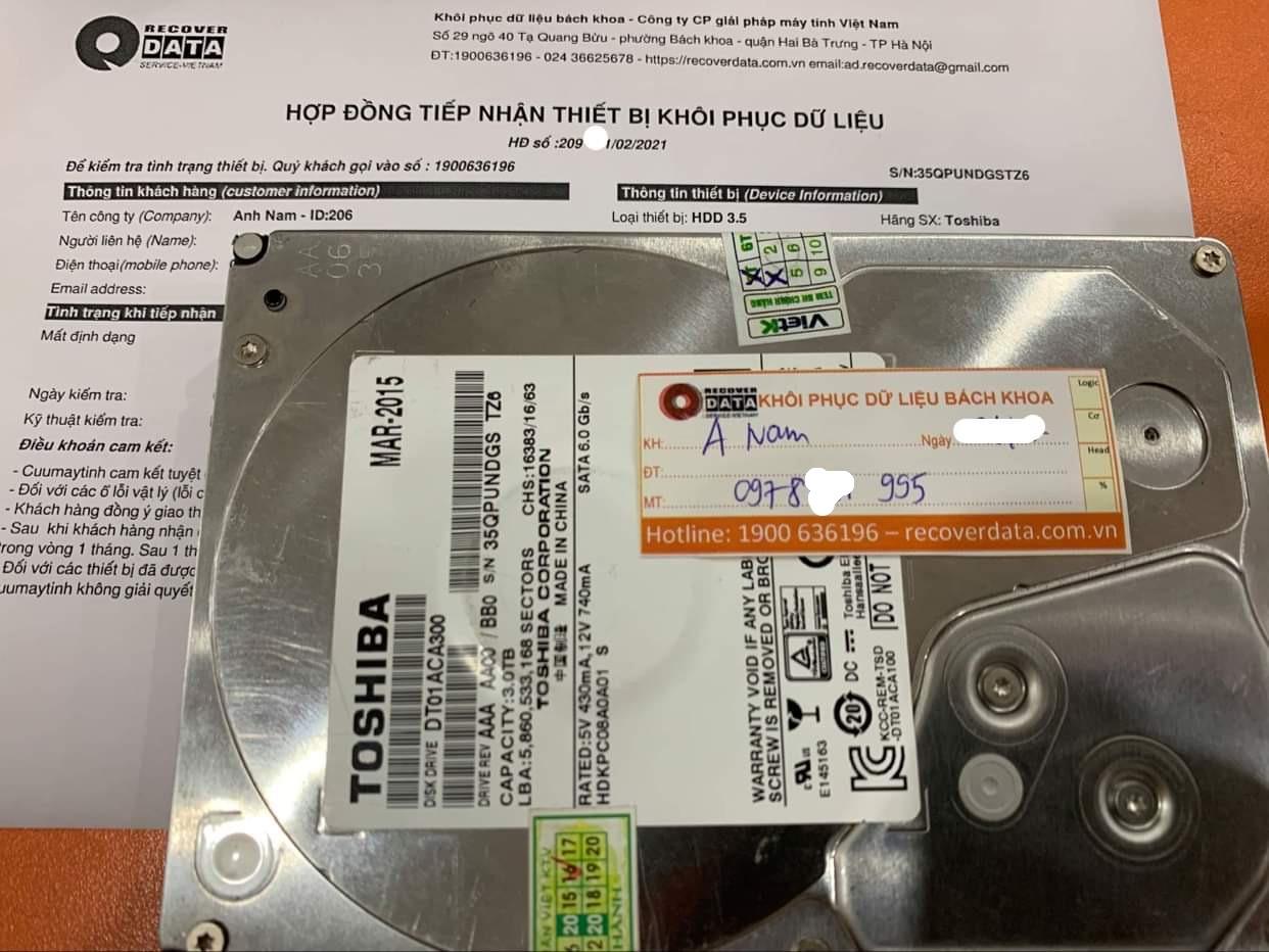 Khôi phục dữ liệu ổ cứng Toshiba 3TB mất định dạng - 24/02/2021