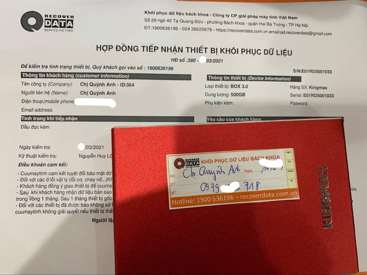 Lấy dữ liệu ổ cứng KingMax 500GB đầu đọc kém - 20/03/2021