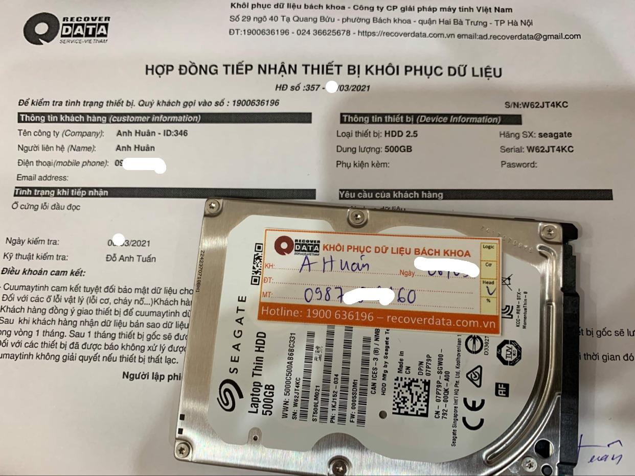 Lấy dữ liệu ổ cứng Seagate 500GB lỗi đầu đọc - 16/03/2021