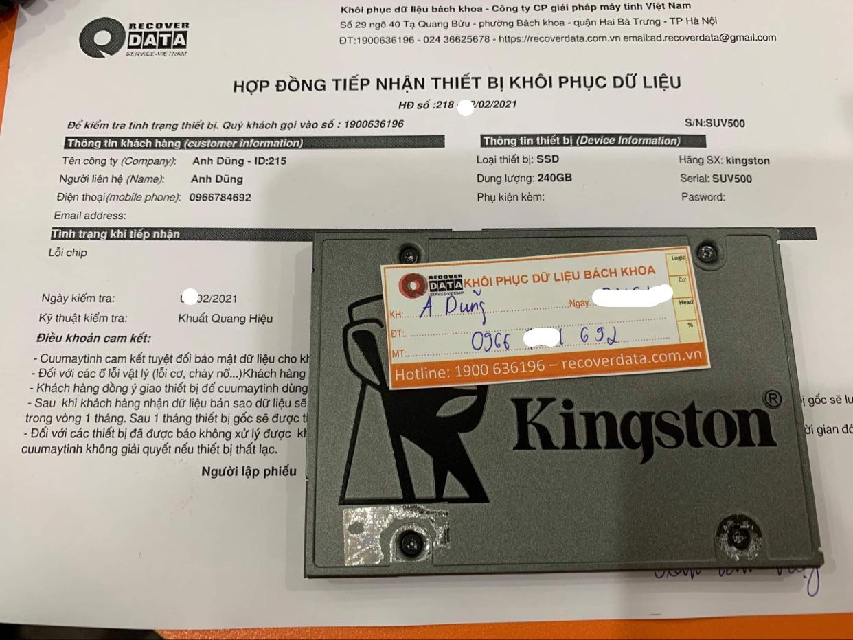 Phục hồi dữ liệu ổ cứng SSD Kingston 240GB lỗi chip - 25/02/2021