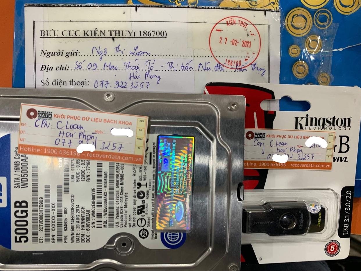 Phục hồi dữ liệu ổ cứng WD 500GB lõi đầu đọc tại Hải Phòng - 02.03.2021