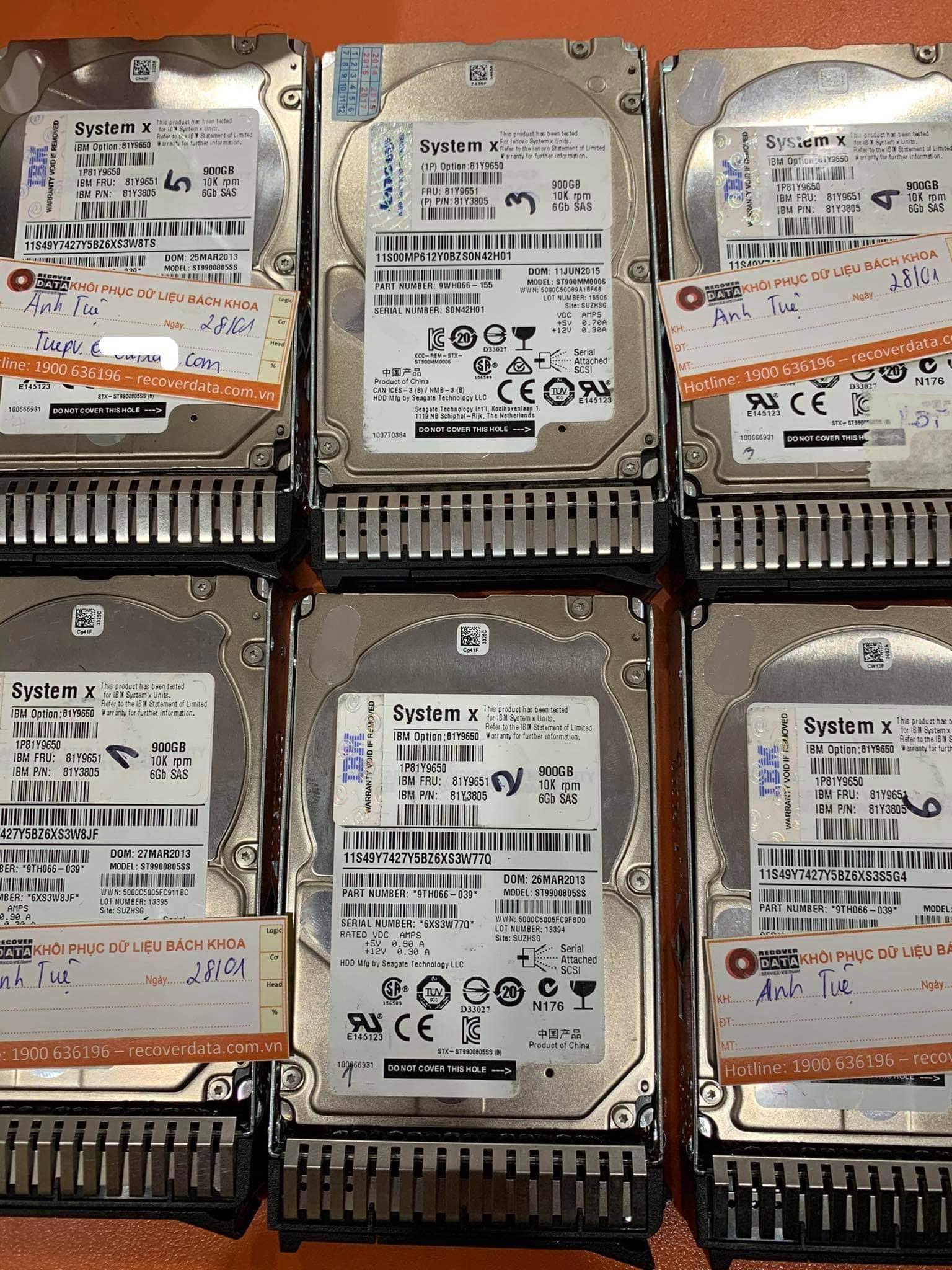 Cứu dữ liệu máy chủ SystemX với 6HDDx900GB mất cấu hình Raid - 28/01/2021