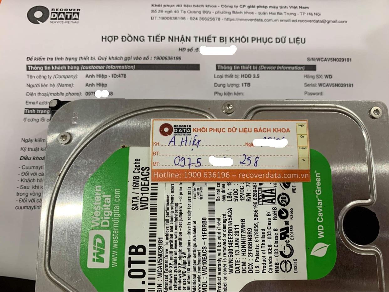 Cứu dữ liệu ổ cứng WD 1TB lỗi cơ - 13/04/2021