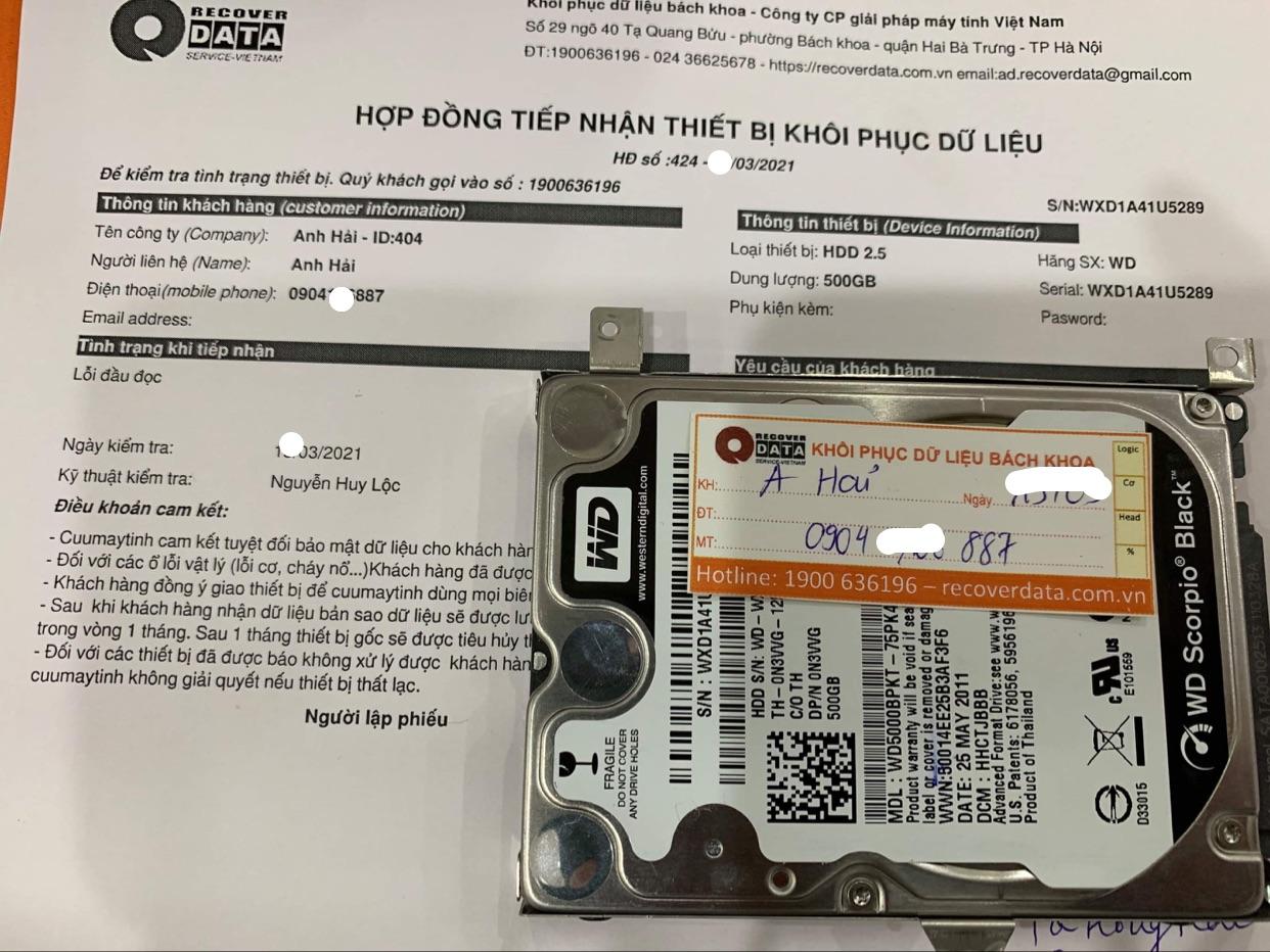 Cứu dữ liệu ổ cứng WD 500GB đầu đọc kém - 27/03/2021