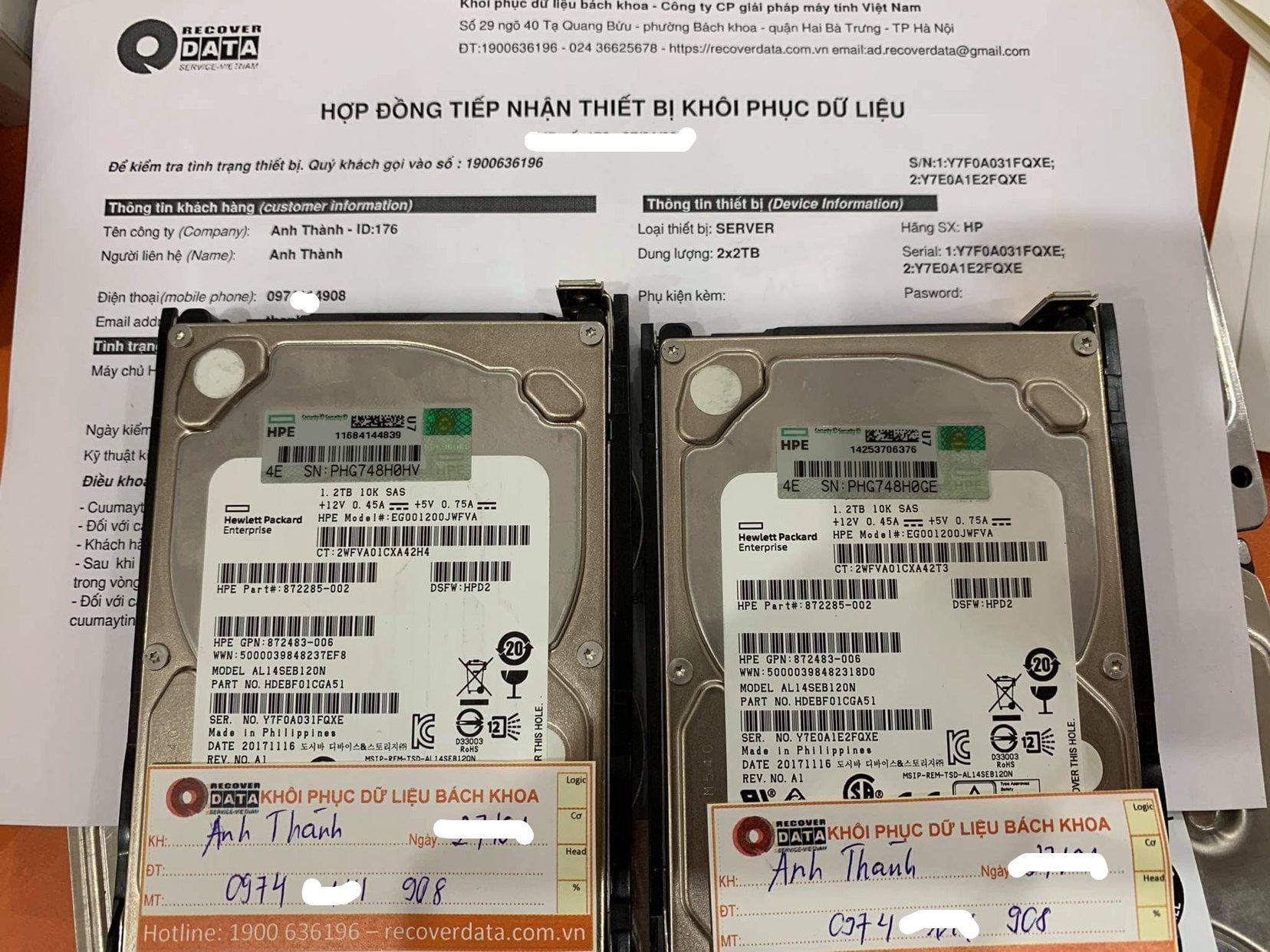 Khôi phục dữ liệu máy chủ HP với 2HDDx2TB lỗi 1HDD - 15/01/2021