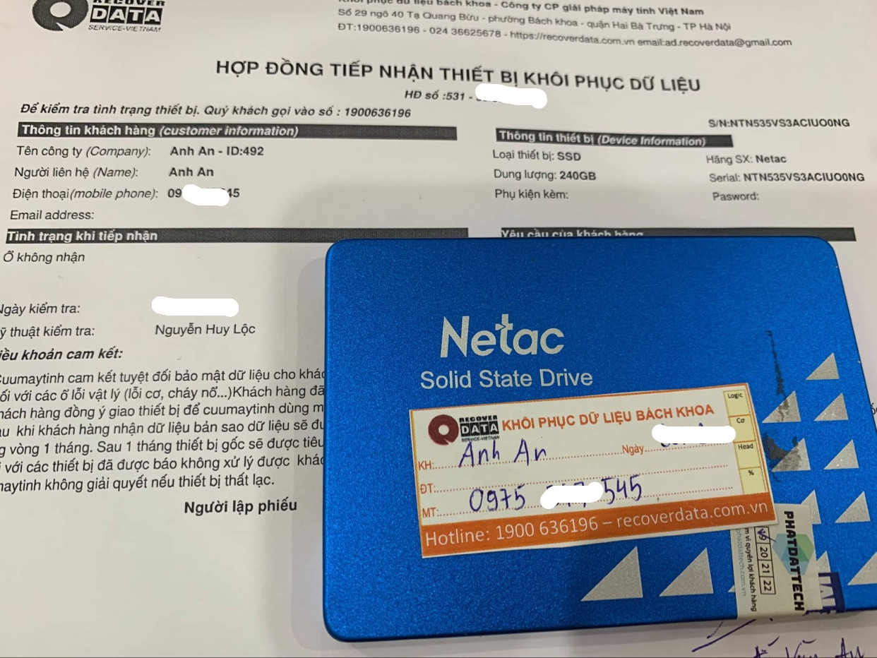 Khôi phục dữ liệu ổ cứng SSD Netac 240GB không nhận - 15/04/2021