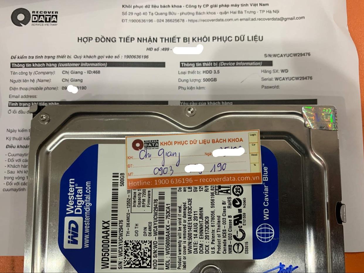 Khôi phục dữ liệu ổ cứng WD 500GB lỗi đầu đọc - 10/04/2021