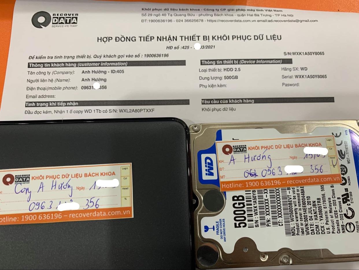 Khôi phục dữ liệu ổ cứng WD 500GB lỗi đầu đọc - 29/03/2021
