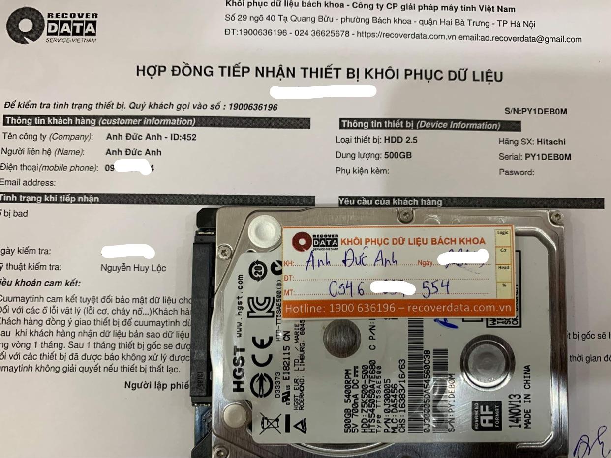 Lấy dữ liệu ổ cứng Hitachi 500GB bad - 05/04/2021