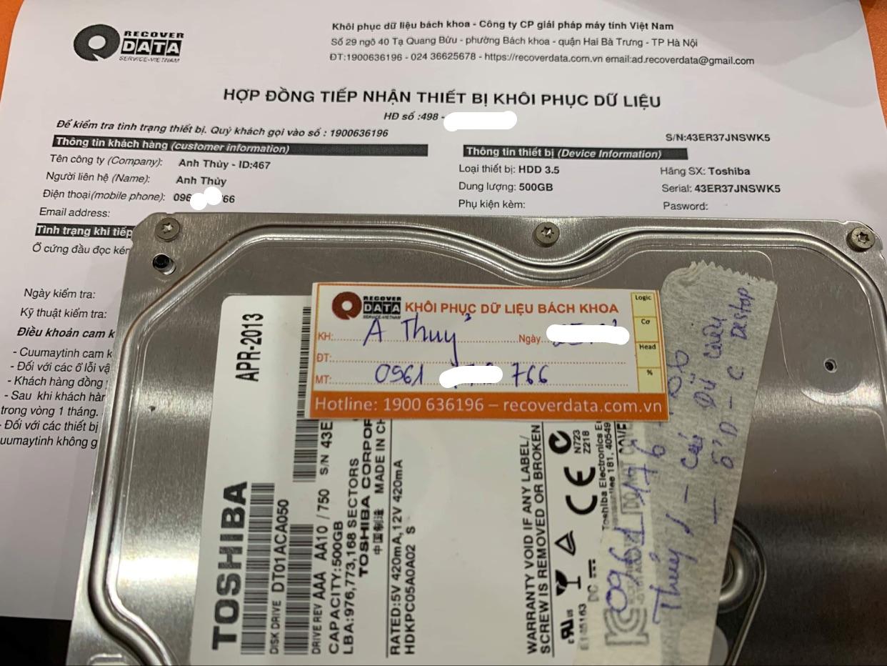 Lấy dữ liệu ổ cứng Toshiba 500GB đầu đọc kém - 09/04/2021