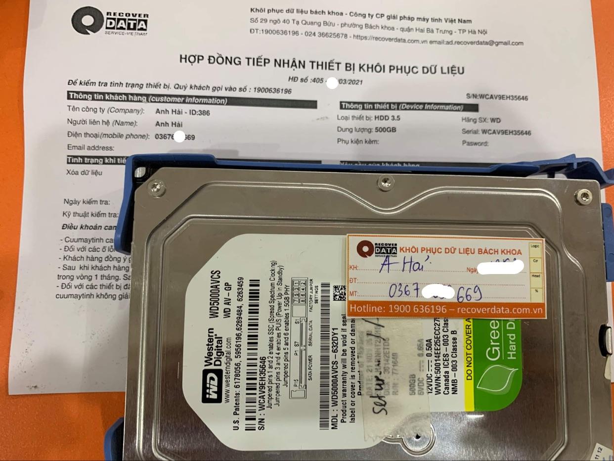 Lấy dữ liệu ổ cứng WD 500GB mất dữ liệu - 26/03/2021